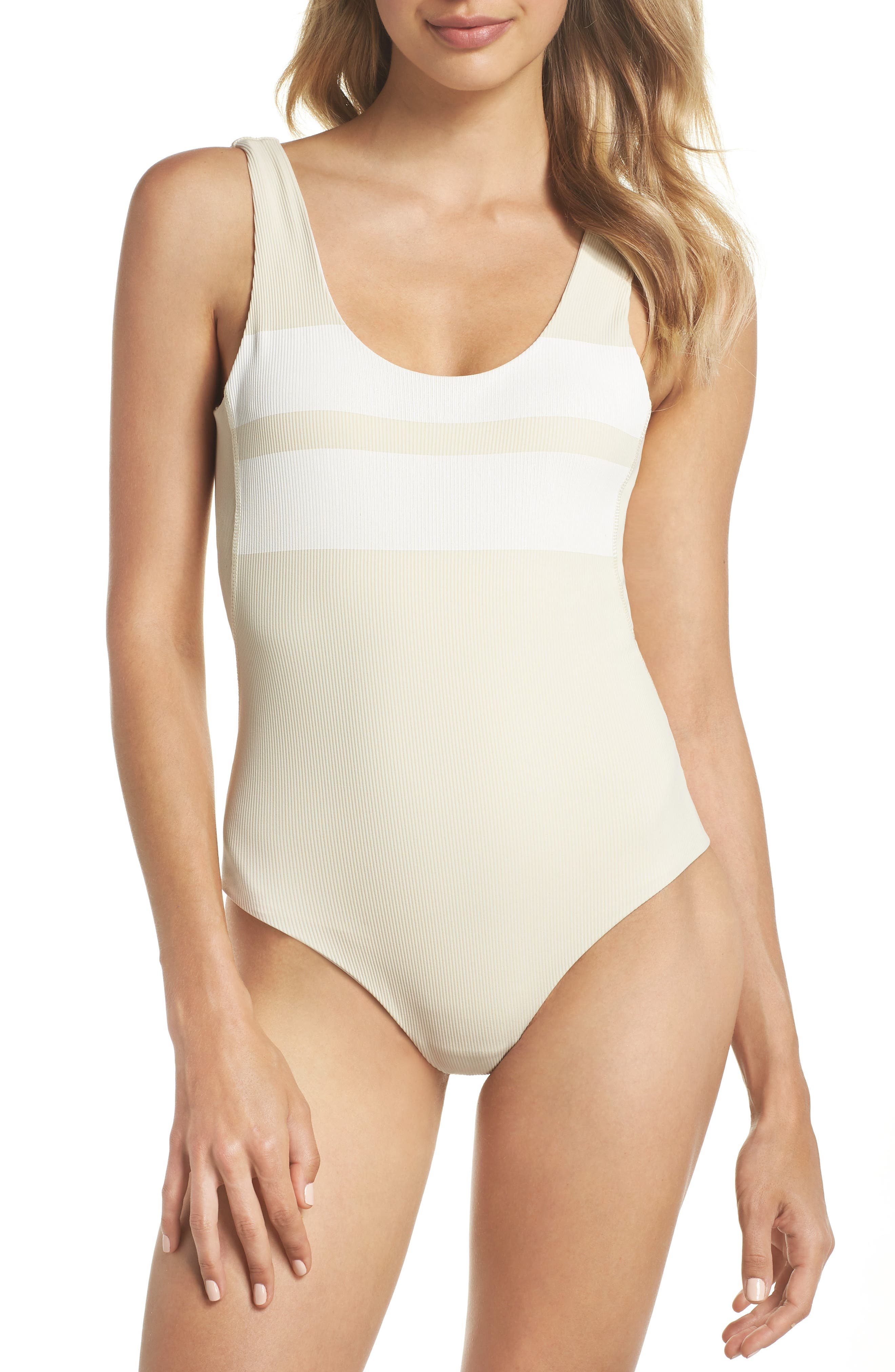 Quick Dry Block Party One-Piece Swimsuit,                             Main thumbnail 1, color,                             LIGHT CREAM