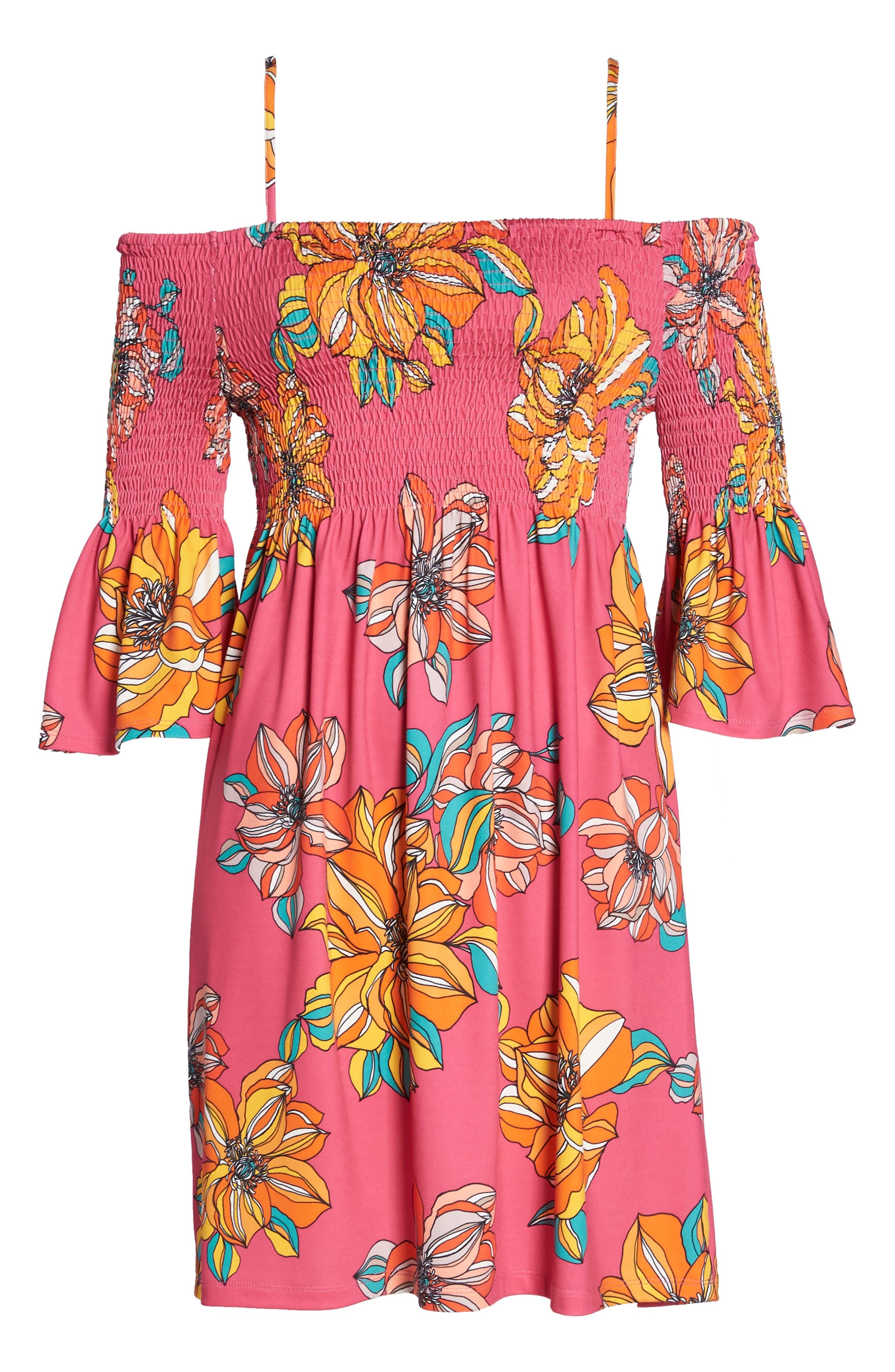 Ventana Cold Shoulder Babydoll Dress,                             Alternate thumbnail 6, color,