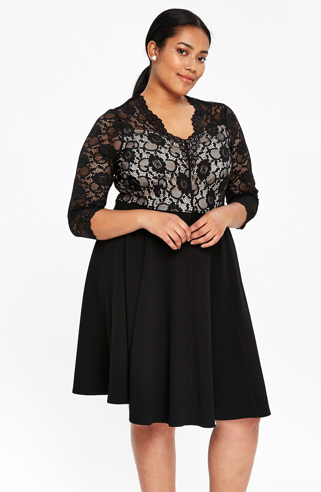 Scallop Lace Fit & Flare Dress,                             Alternate thumbnail 6, color,                             001