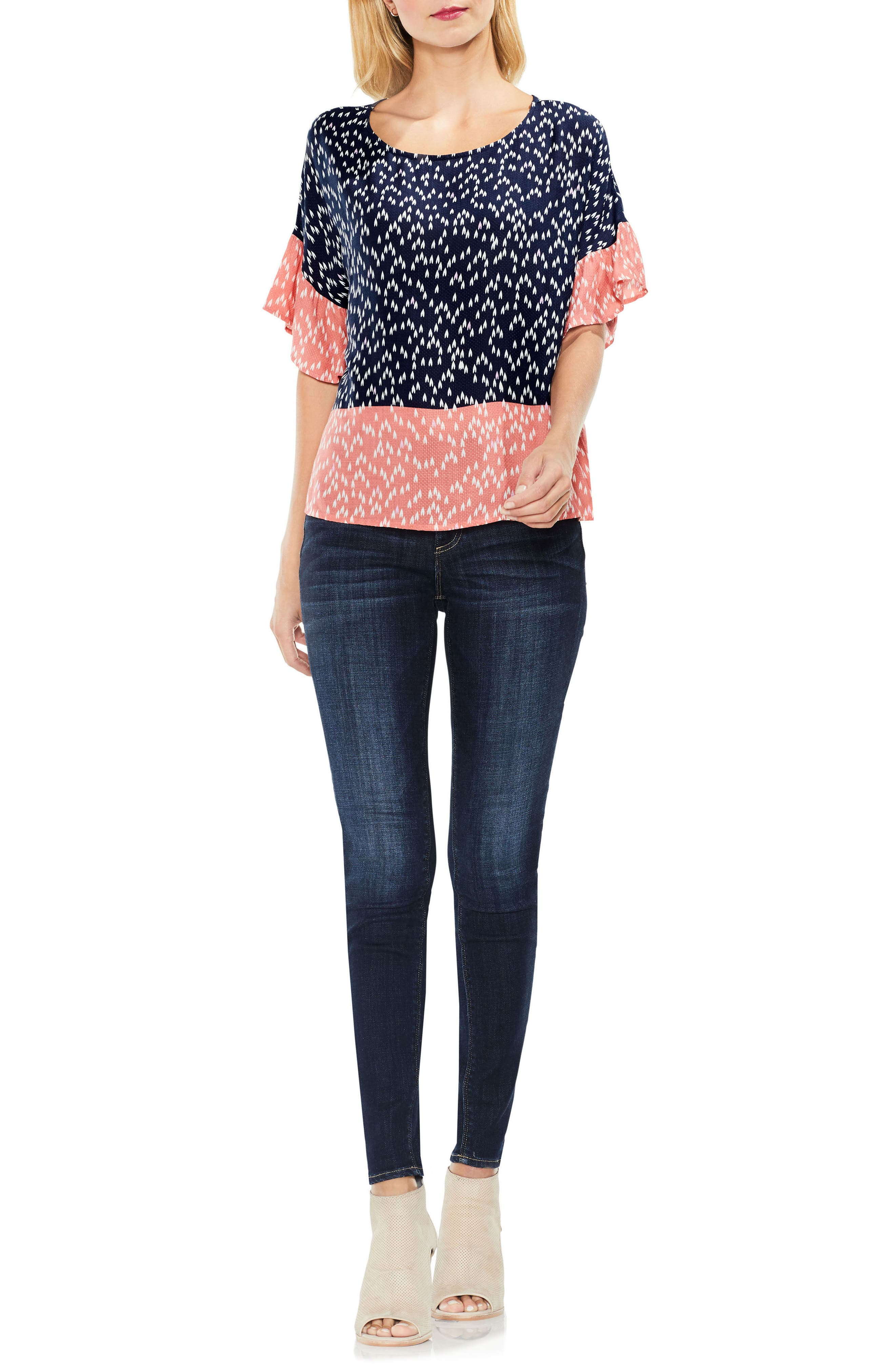 Two by Vince Camuto Ruffle Sleeve Shirt,                             Alternate thumbnail 4, color,                             BLUE NIGHT