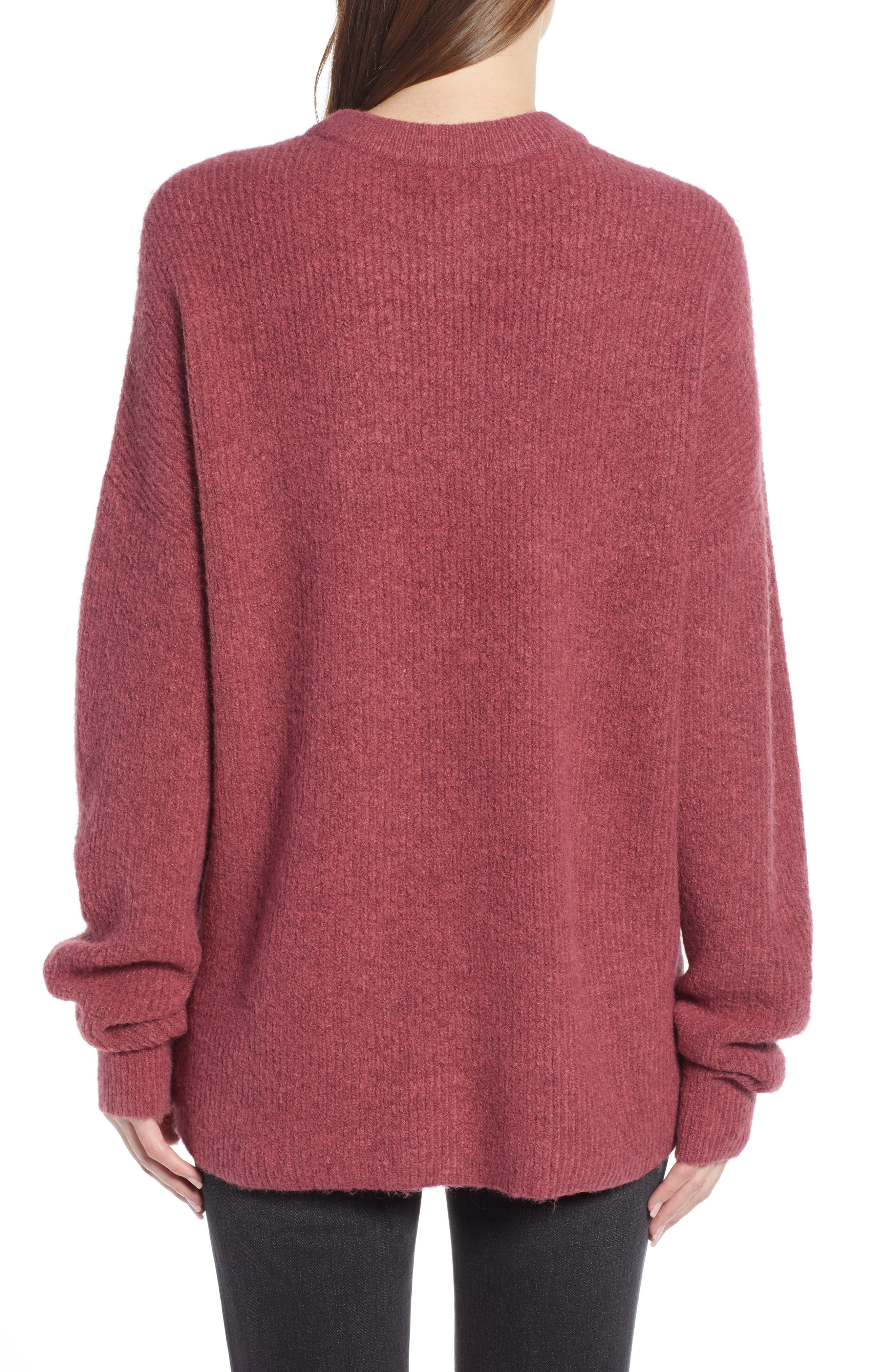 Fuzzy Oversize Sweater,                             Alternate thumbnail 2, color,                             BURGUNDY THORN