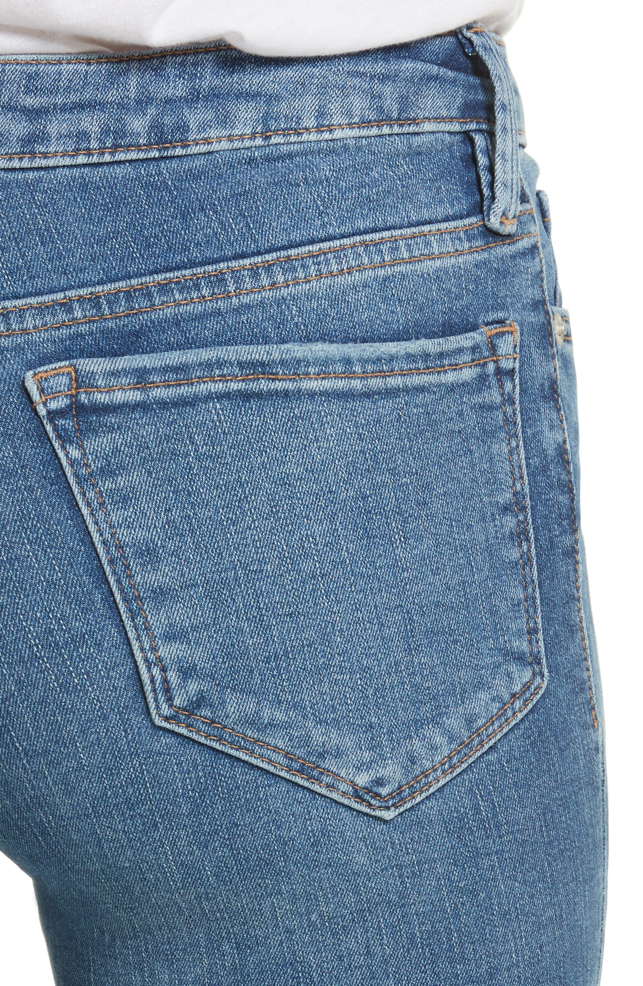 High Waist Crop Straight Leg Jeans,                             Alternate thumbnail 4, color,                             400