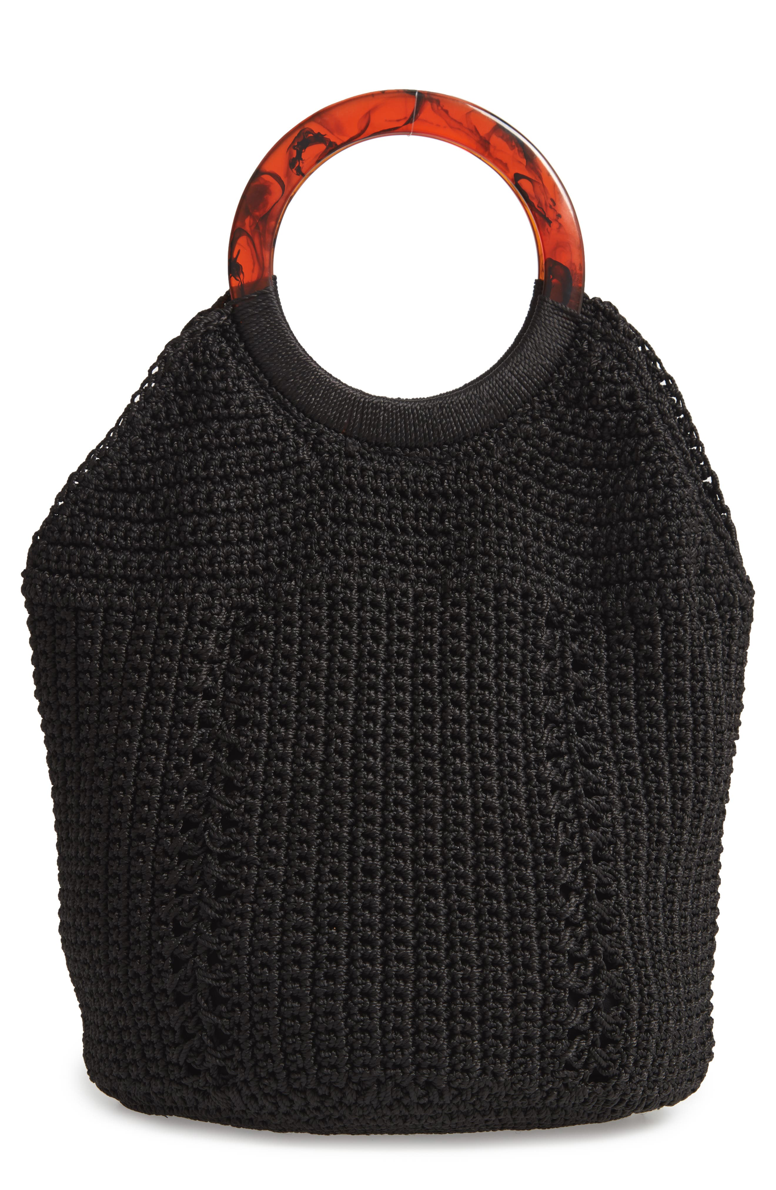 LaLa Crochet Tote, Main, color, BLACK