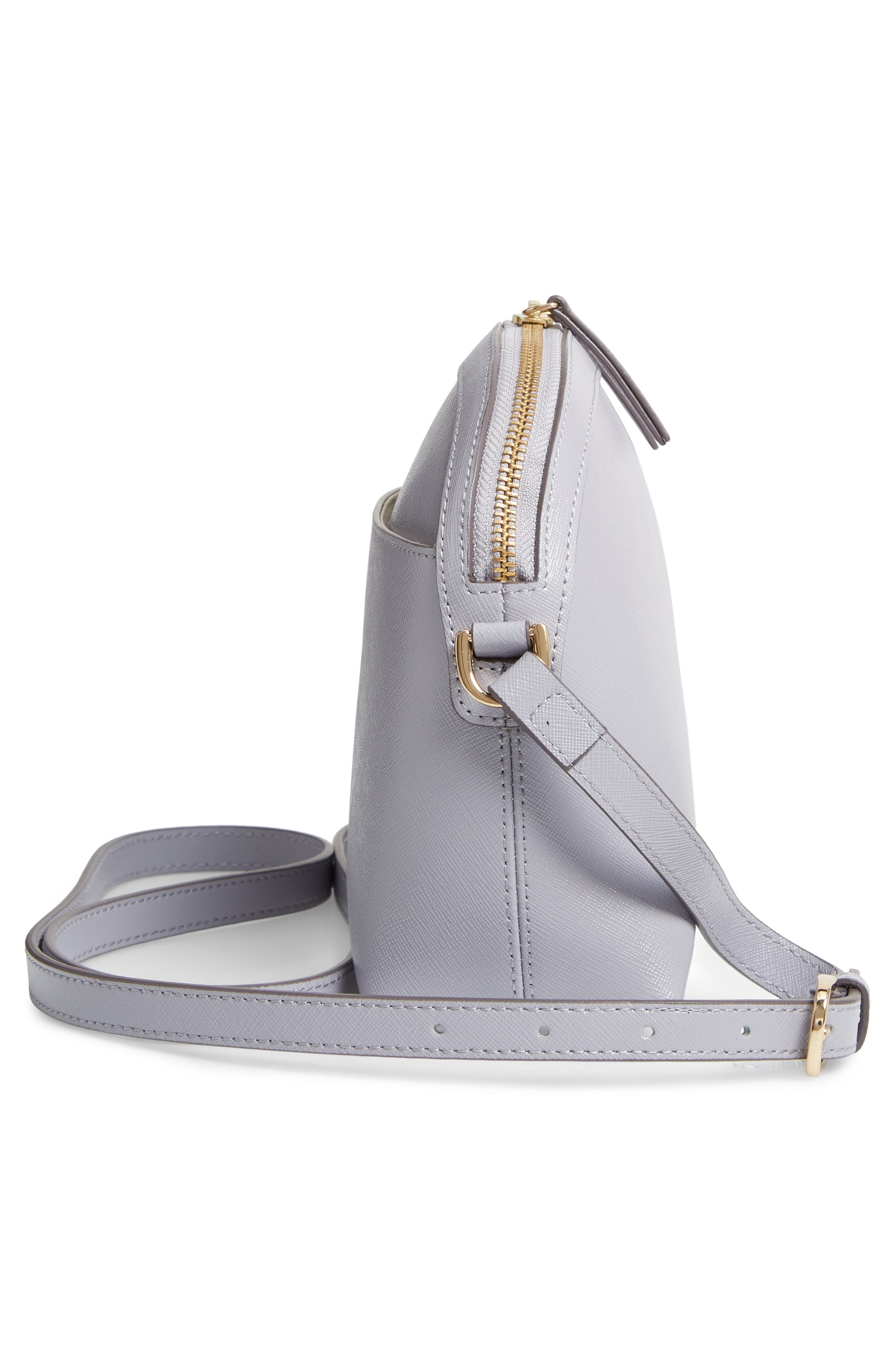 Isobel Half Moon Leather Crossbody Bag,                             Alternate thumbnail 5, color,                             GREY LILAC