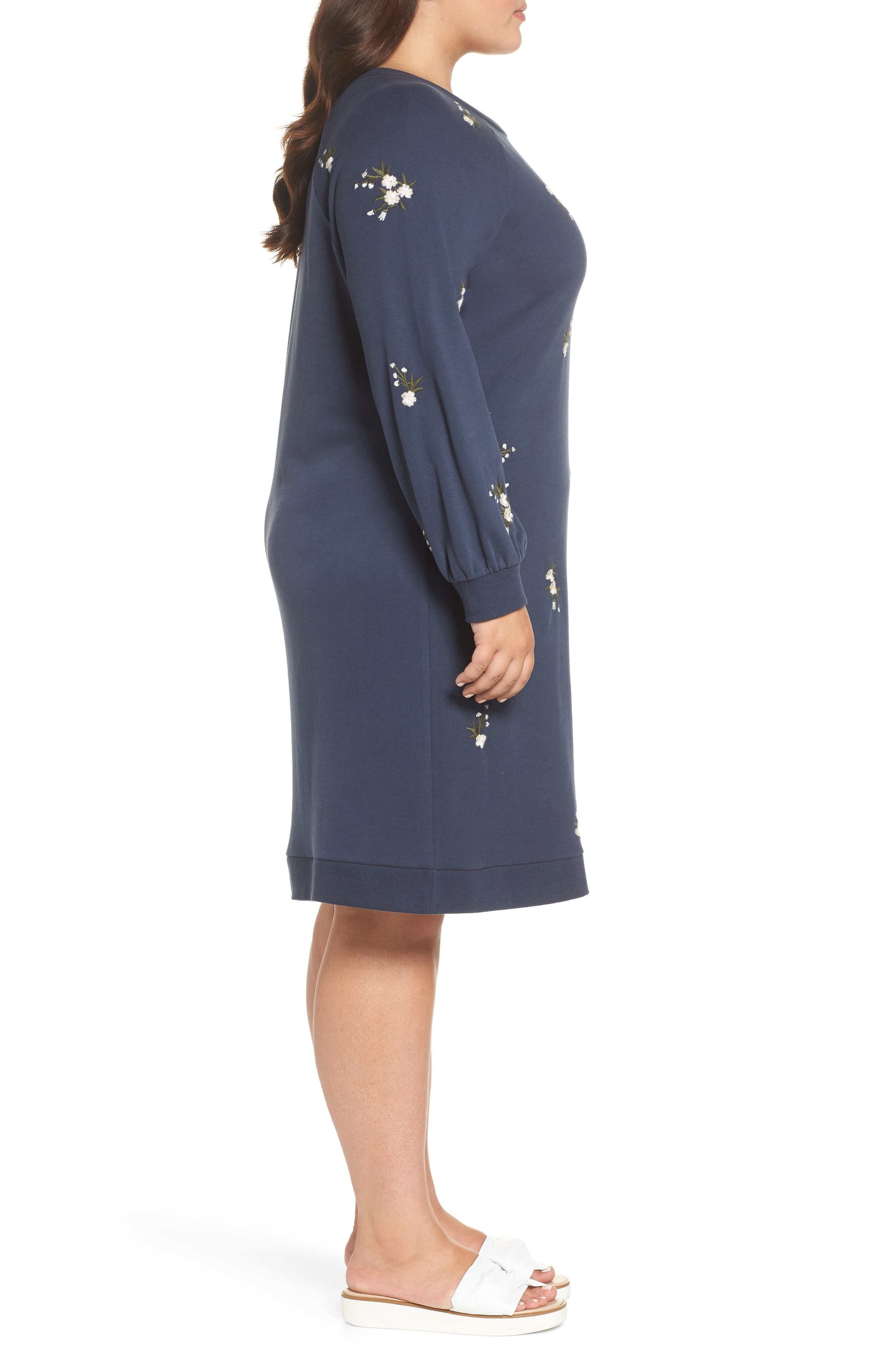 Embroidered Fleece Knit Dress,                             Alternate thumbnail 3, color,                             410