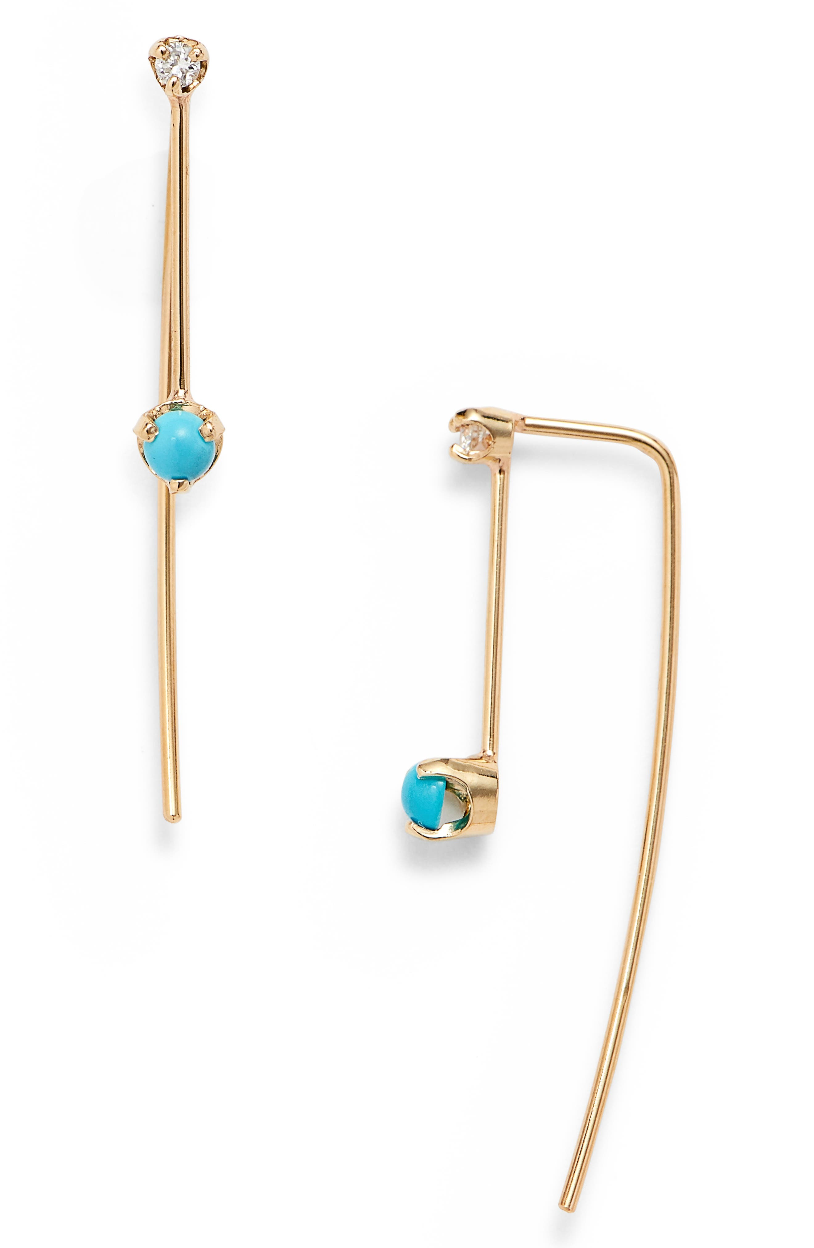 ZOË CHICCO,                             Turquoise & Diamond Threader Earrings,                             Main thumbnail 1, color,                             YELLOW GOLD