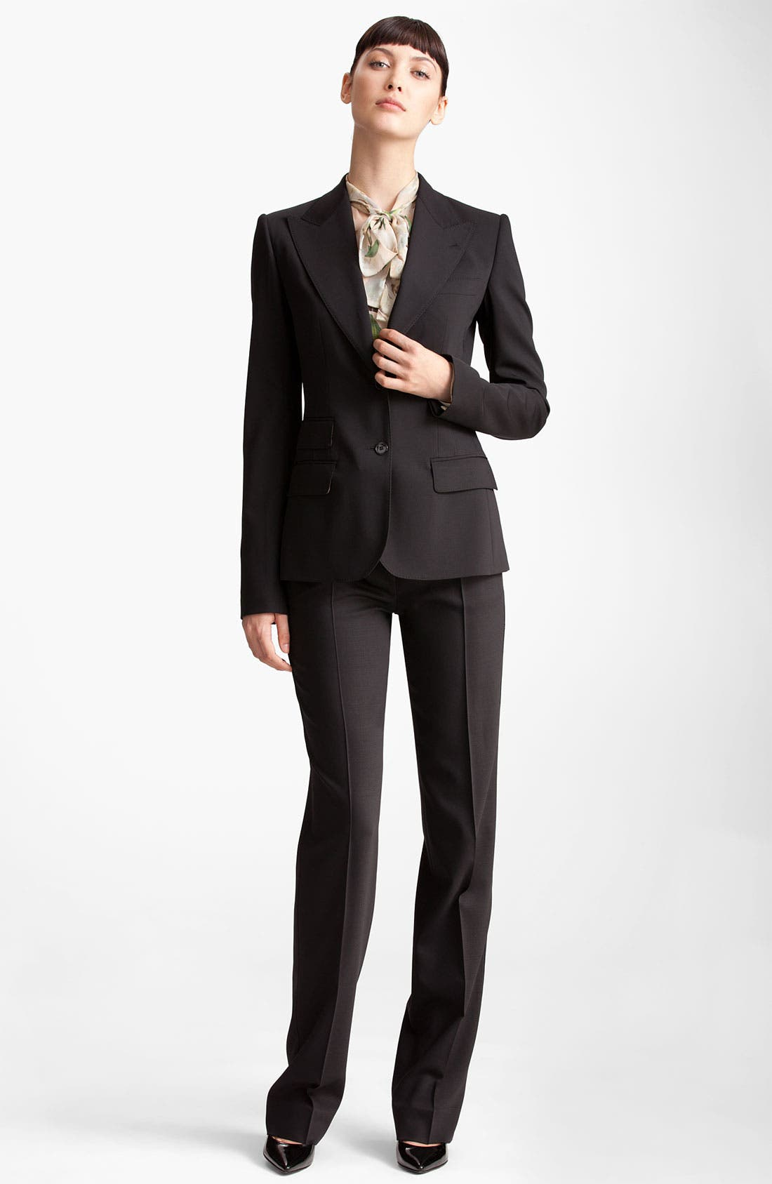 Two Button Stretch Wool Jacket,                             Alternate thumbnail 9, color,                             BLACK