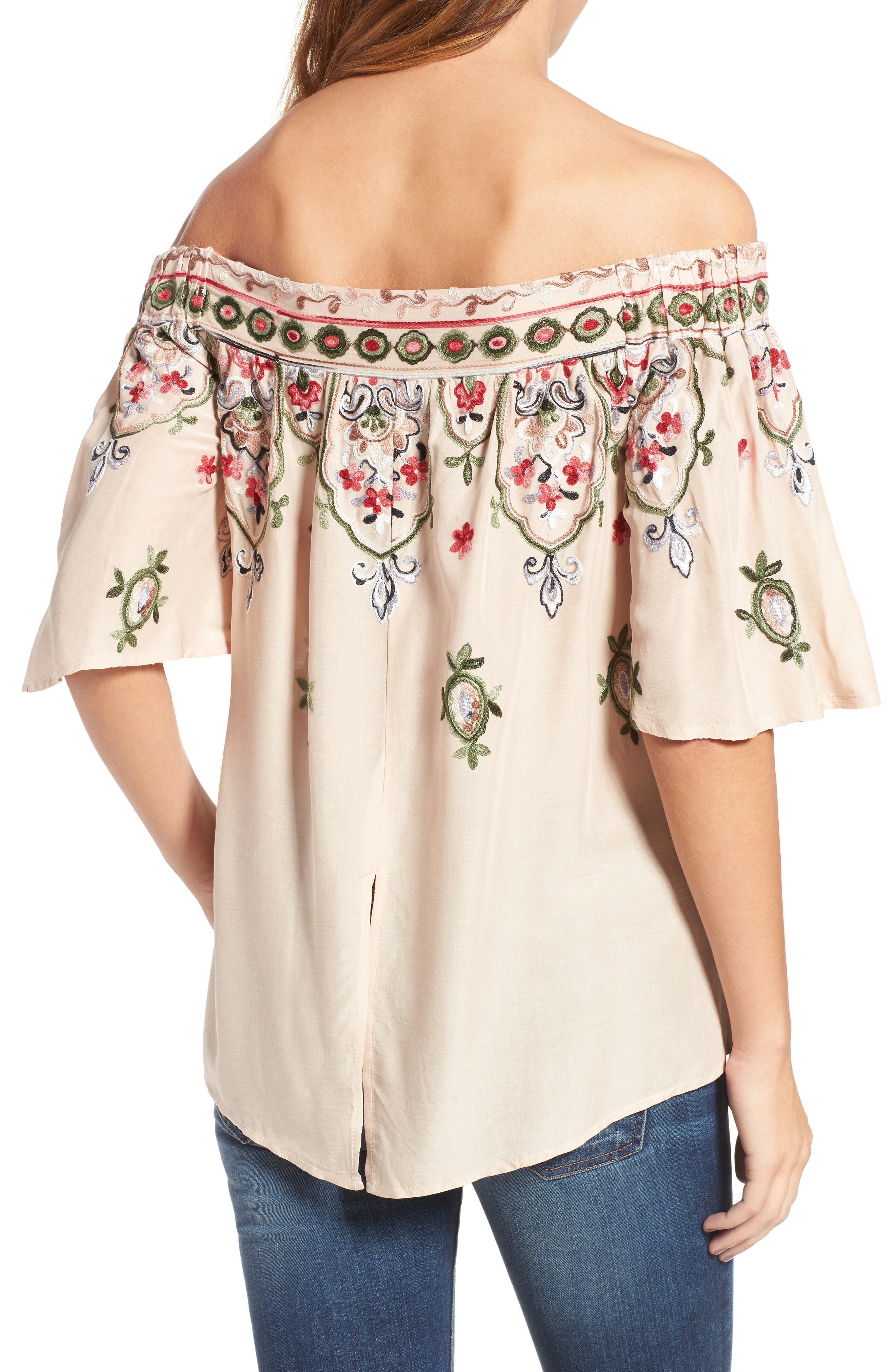 Embroidered Off the Shoulder Top,                             Alternate thumbnail 2, color,                             254