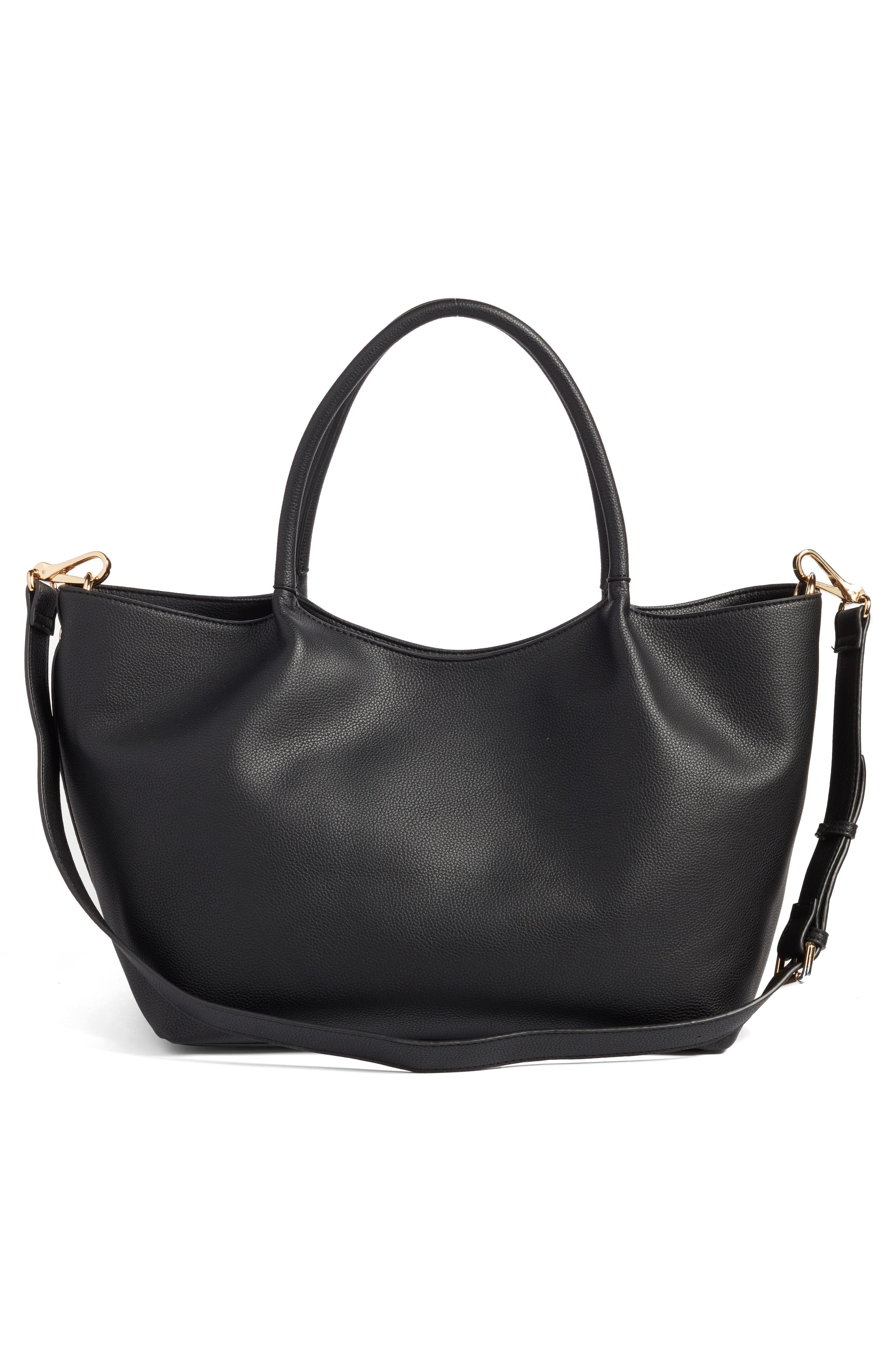Cindy Faux Leather Convertible Tote,                             Alternate thumbnail 3, color,                             001