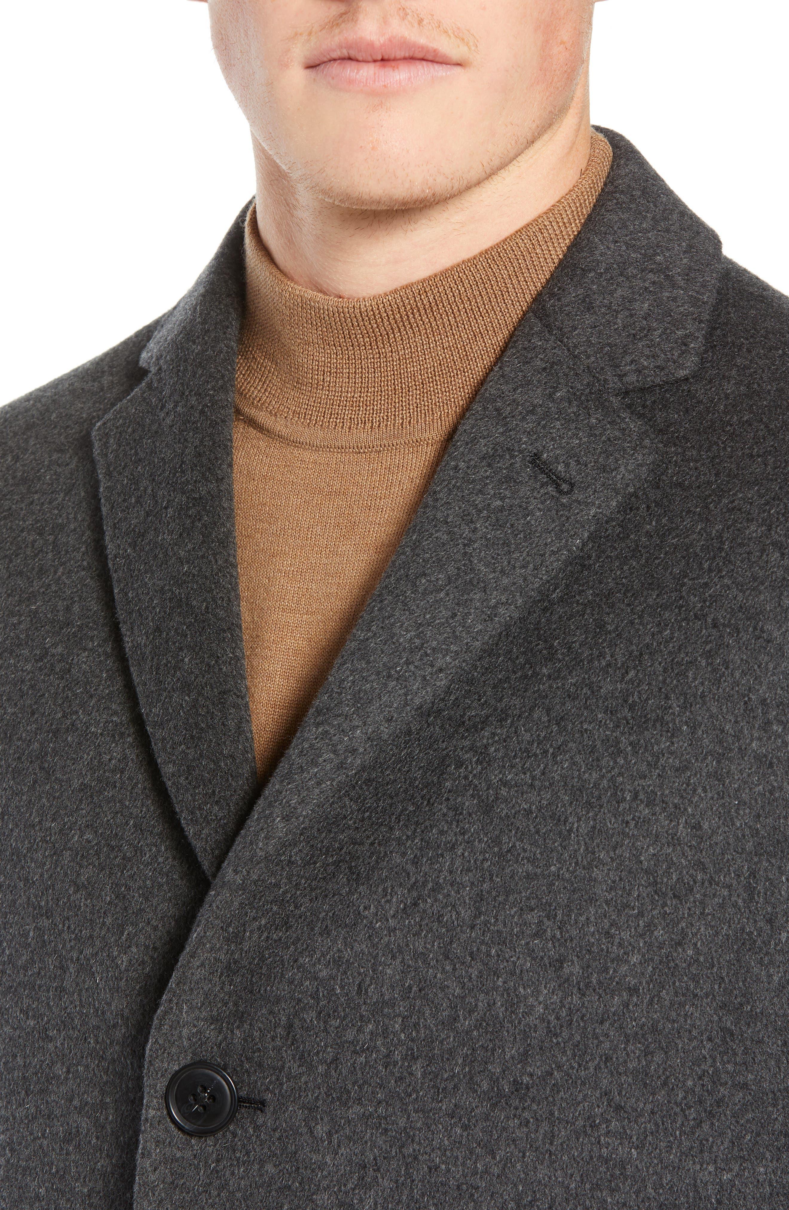 Mason Wool & Cashmere Overcoat,                             Alternate thumbnail 4, color,                             CHARCOAL