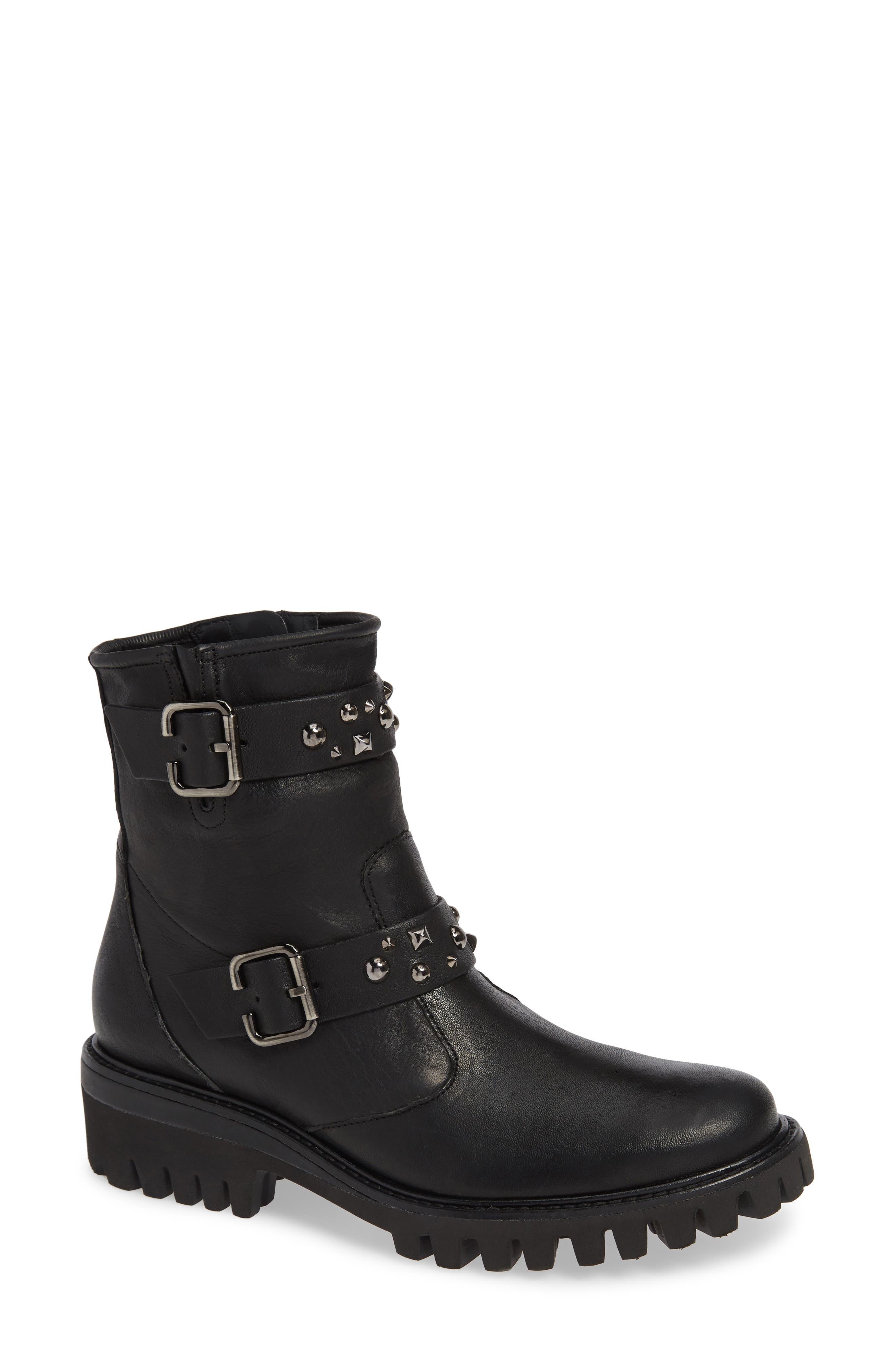 Paul Green Veronia Studded Buckle Boot, .5UK - Black