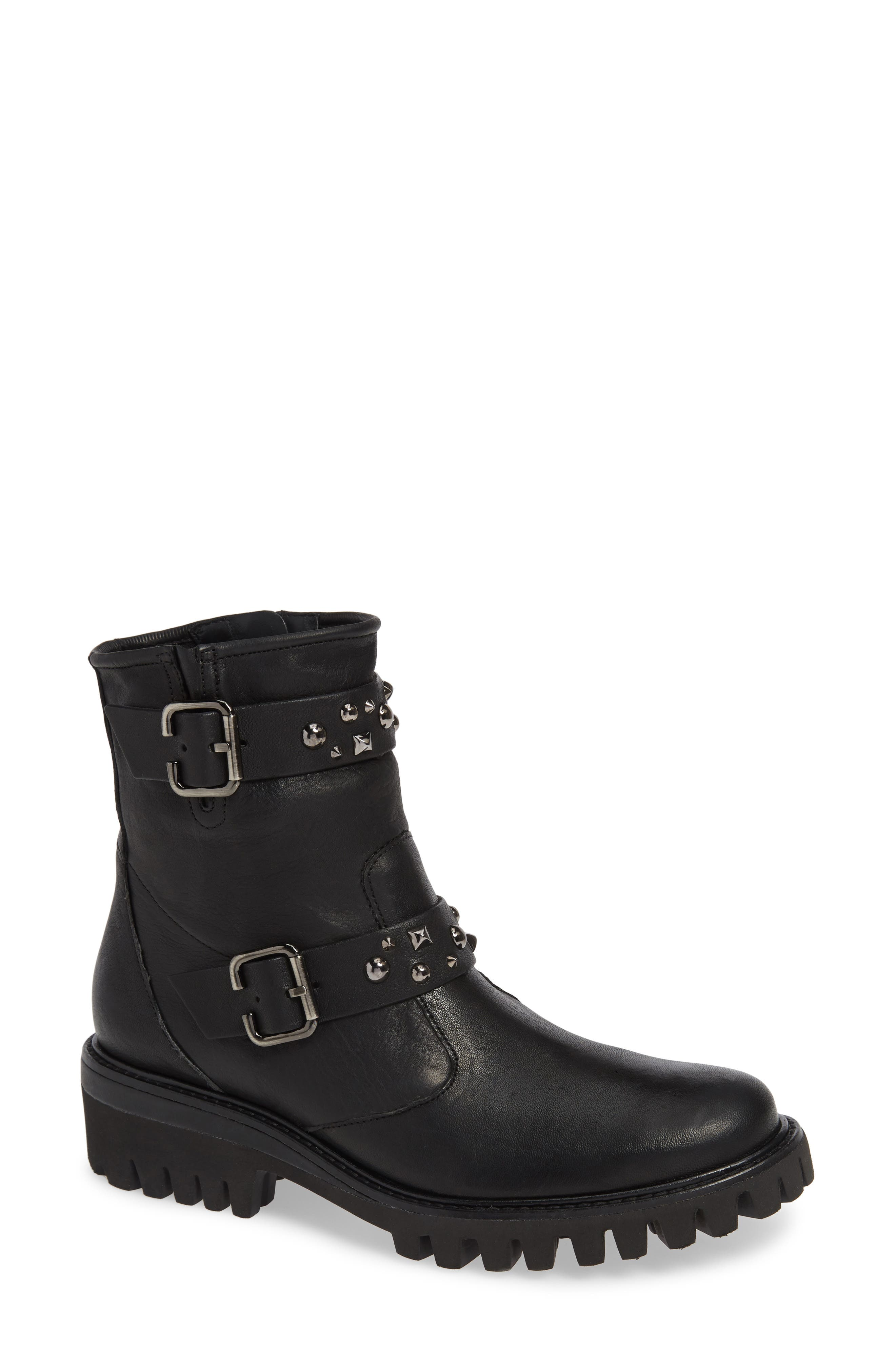 Veronia Studded Buckle Boot,                             Main thumbnail 1, color,                             BLACK LEATHER