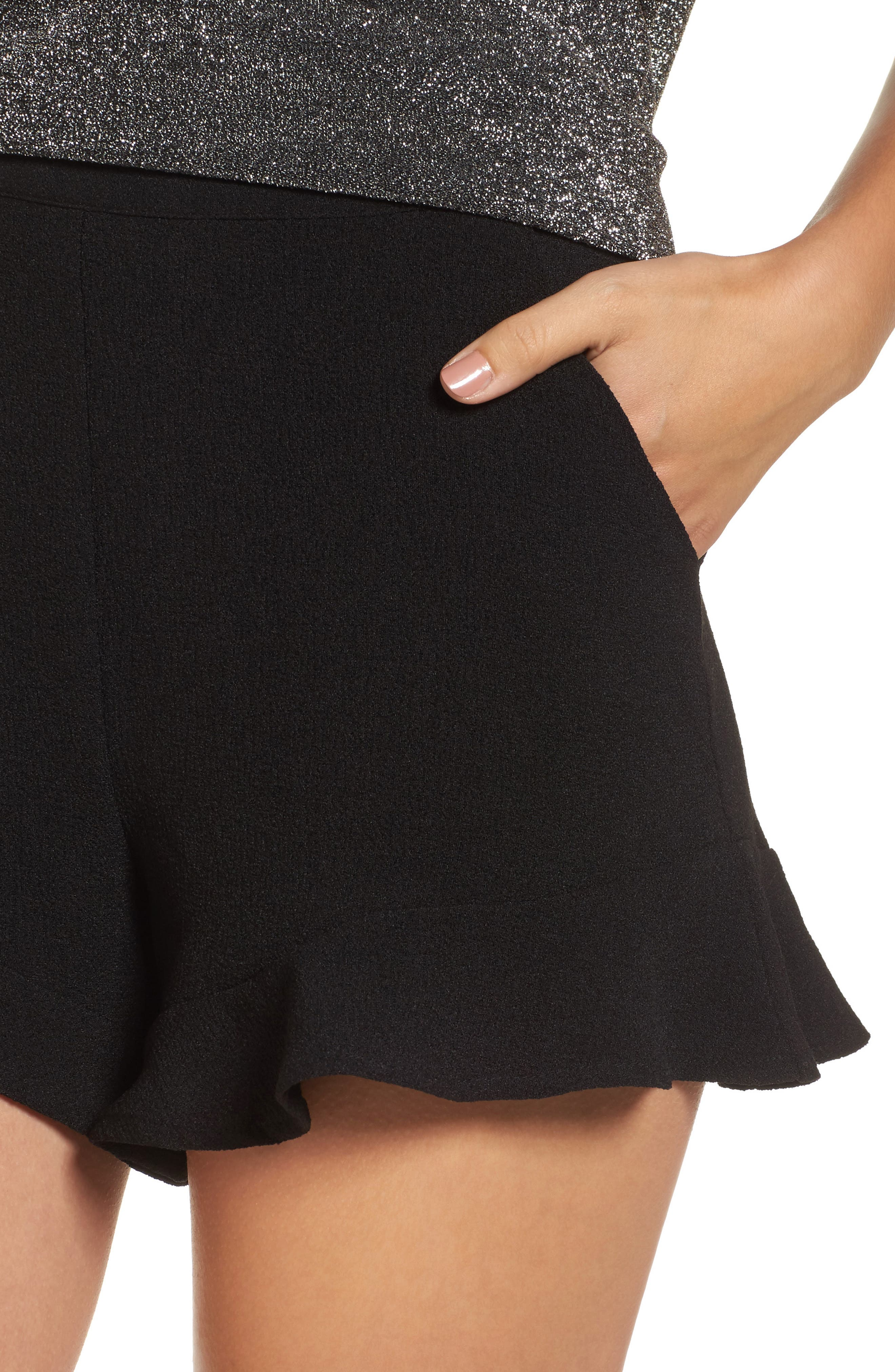 Ruffle Hem Shorts,                             Alternate thumbnail 4, color,                             001