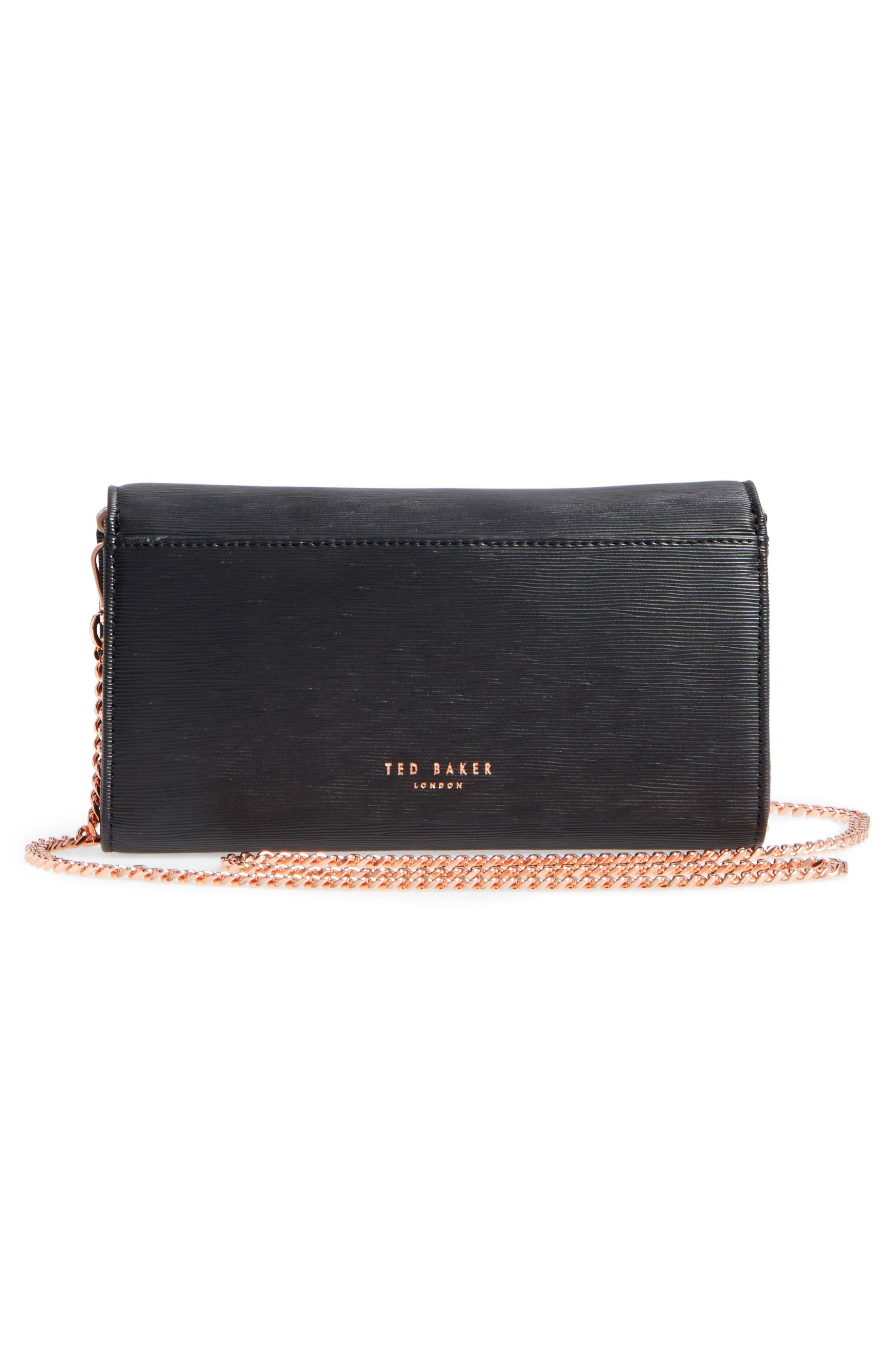 Melisia Bow Leather Mantinee Wallet on a Chain,                             Alternate thumbnail 3, color,                             001