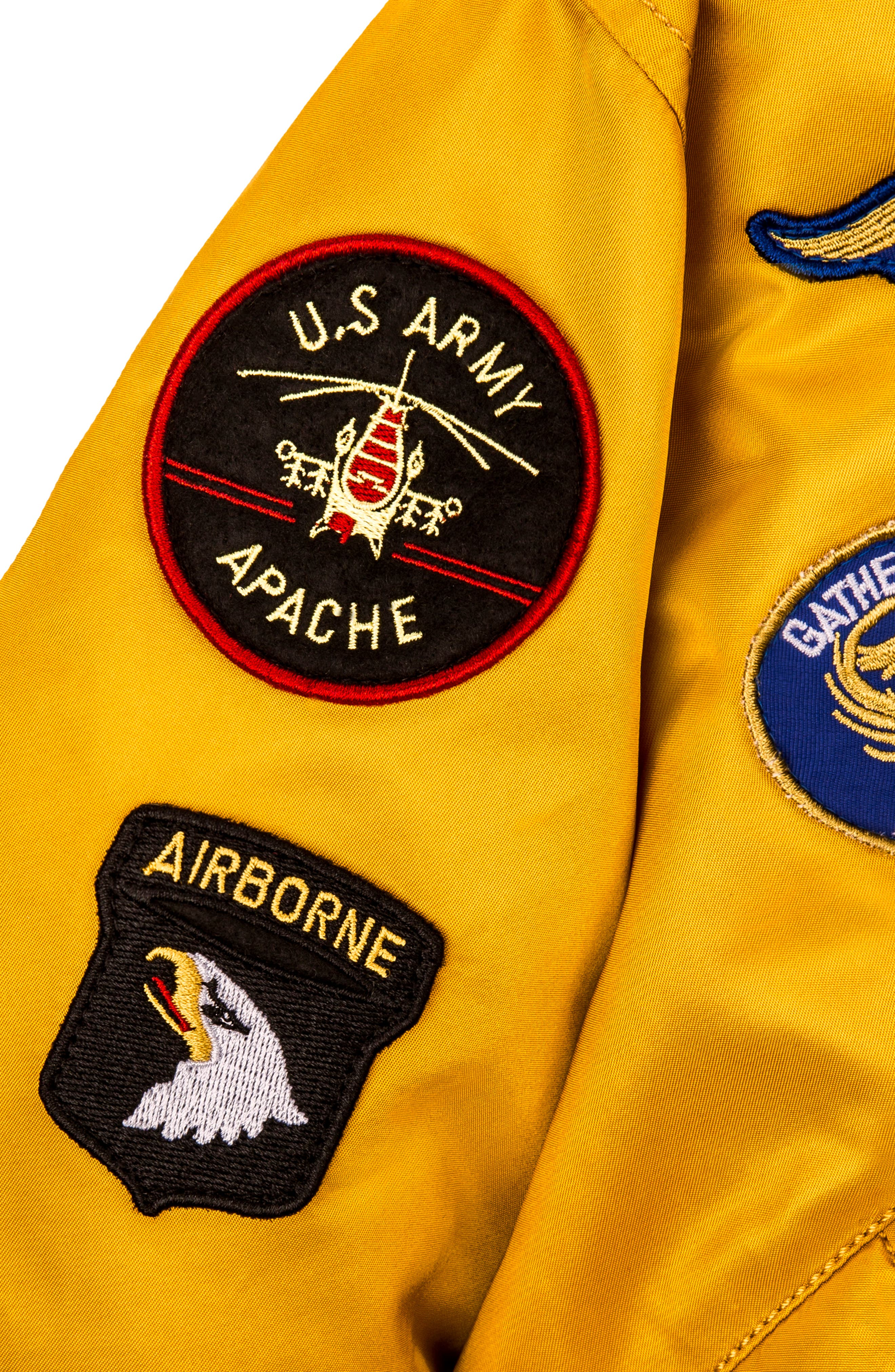 MA-1 Patch Flight Jacket,                             Alternate thumbnail 3, color,                             GOLDEN YELLOW