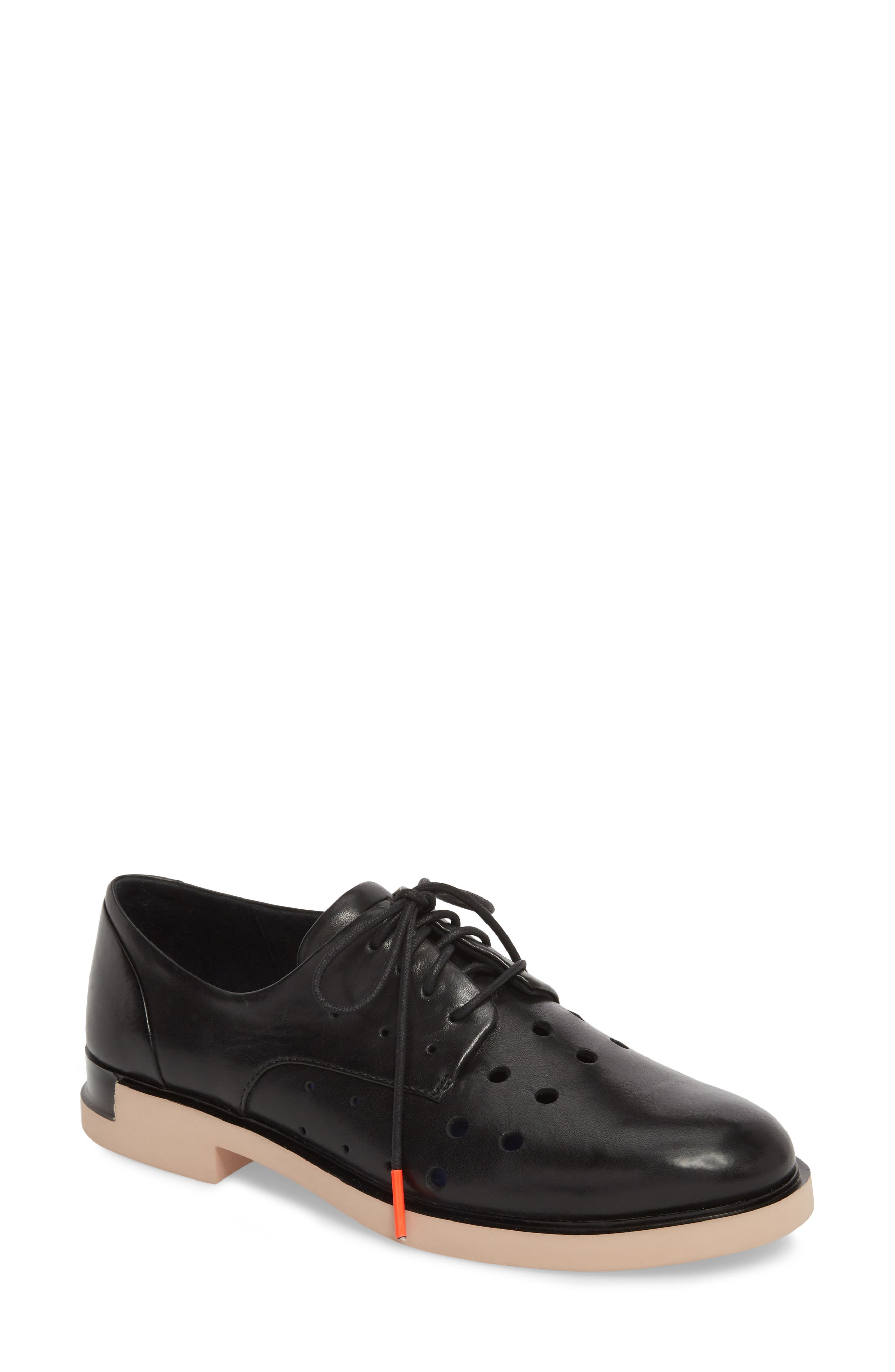 TWS Perforated Derby,                             Main thumbnail 1, color,                             BLACK LEATHER
