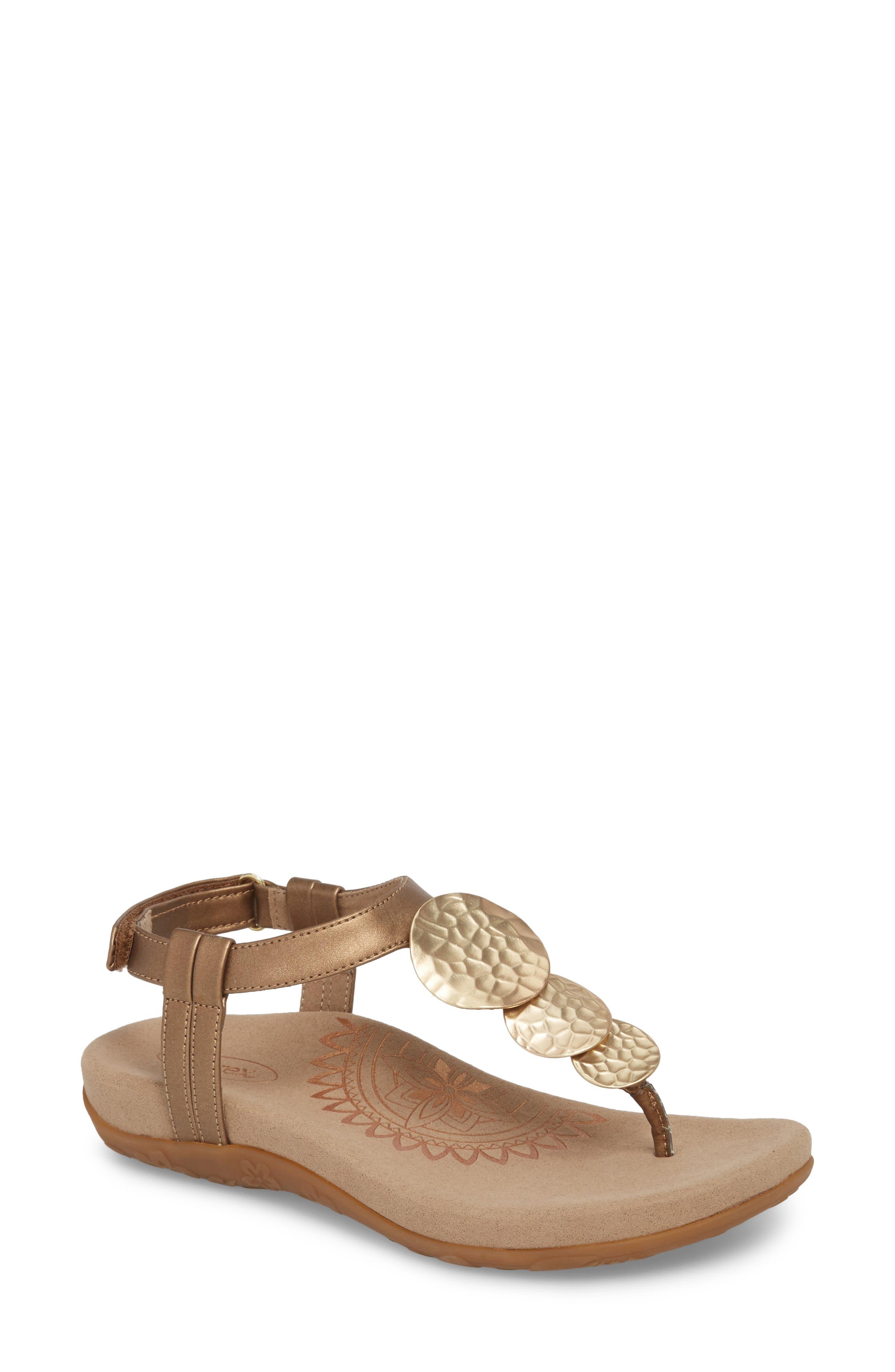 Olive T-Strap Sandal,                             Main thumbnail 3, color,