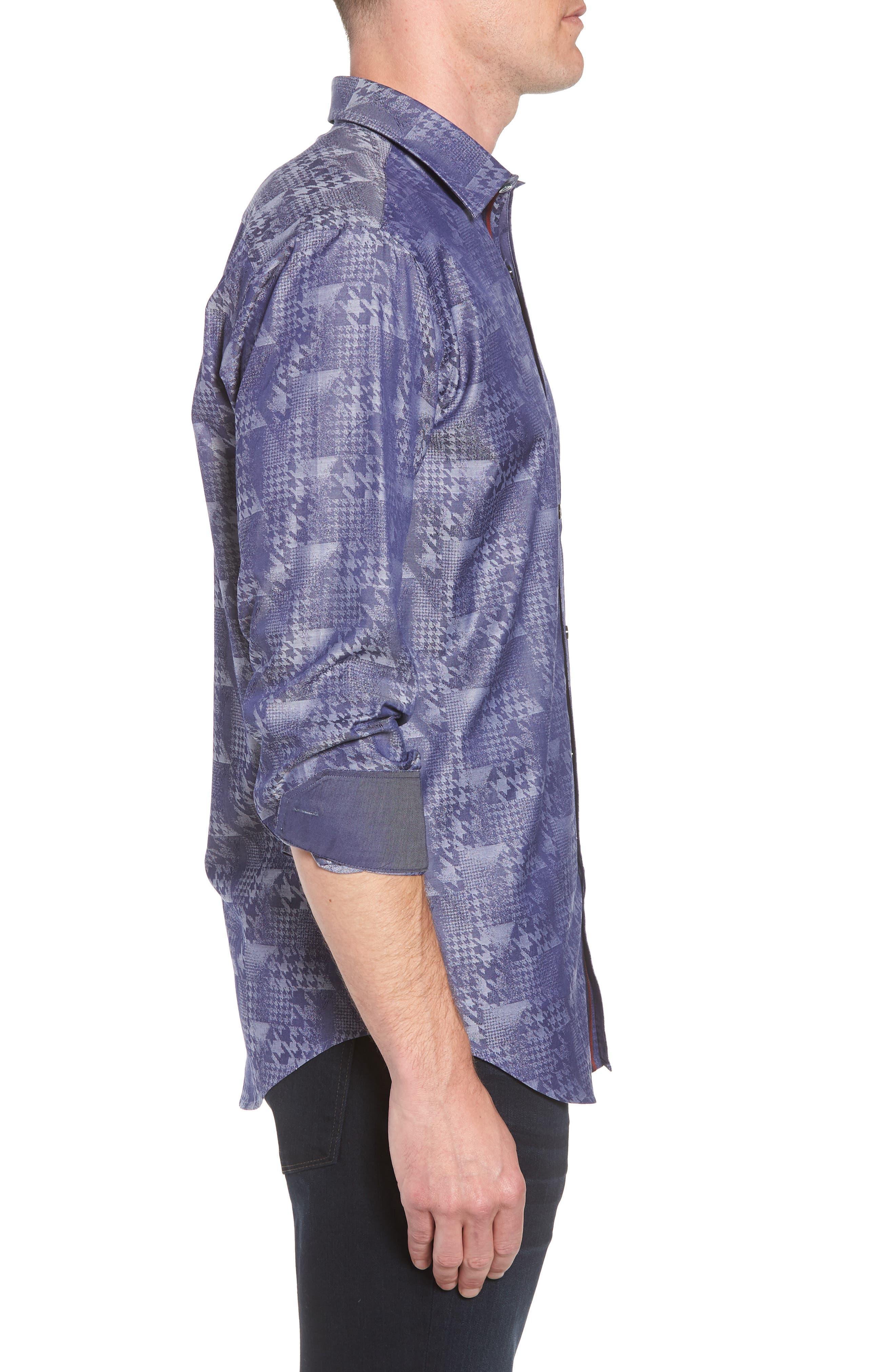 Shaped Fit Glen Check Sport Shirt,                             Alternate thumbnail 3, color,                             INDIGO