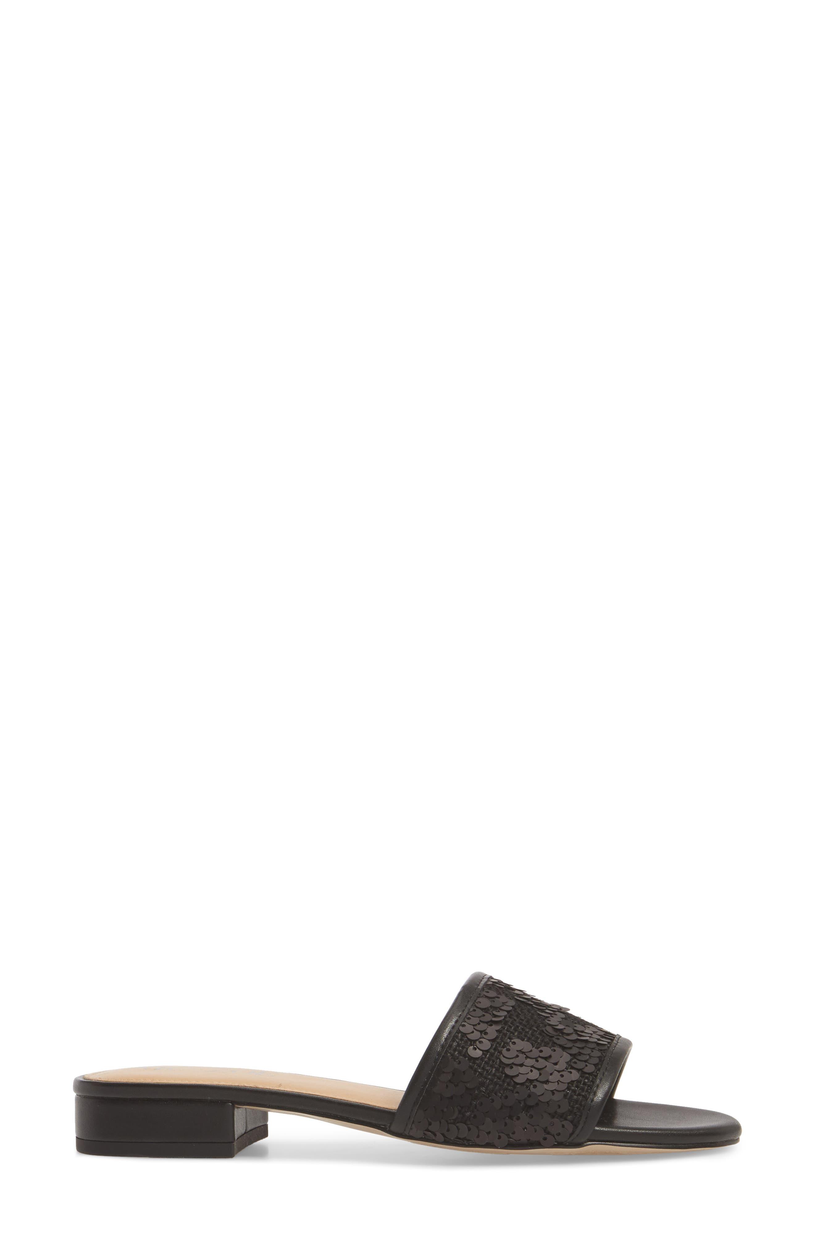 NIC + ZOE Sandy Sequin Low Heel Slide,                             Alternate thumbnail 3, color,                             BLACK FABRIC