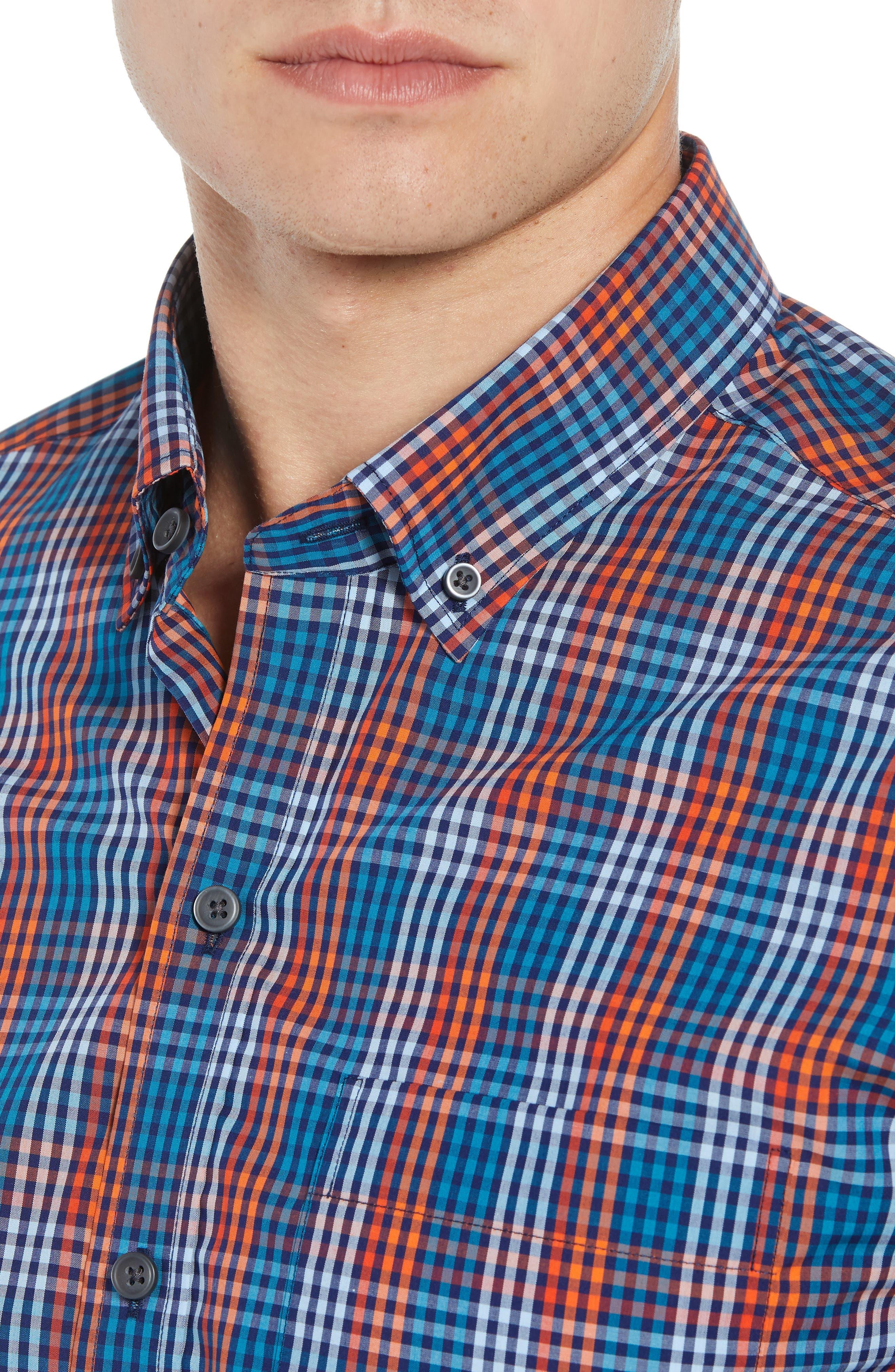 Sutton Regular Fit Non-Iron Check Sport Shirt,                             Alternate thumbnail 2, color,                             ALARM