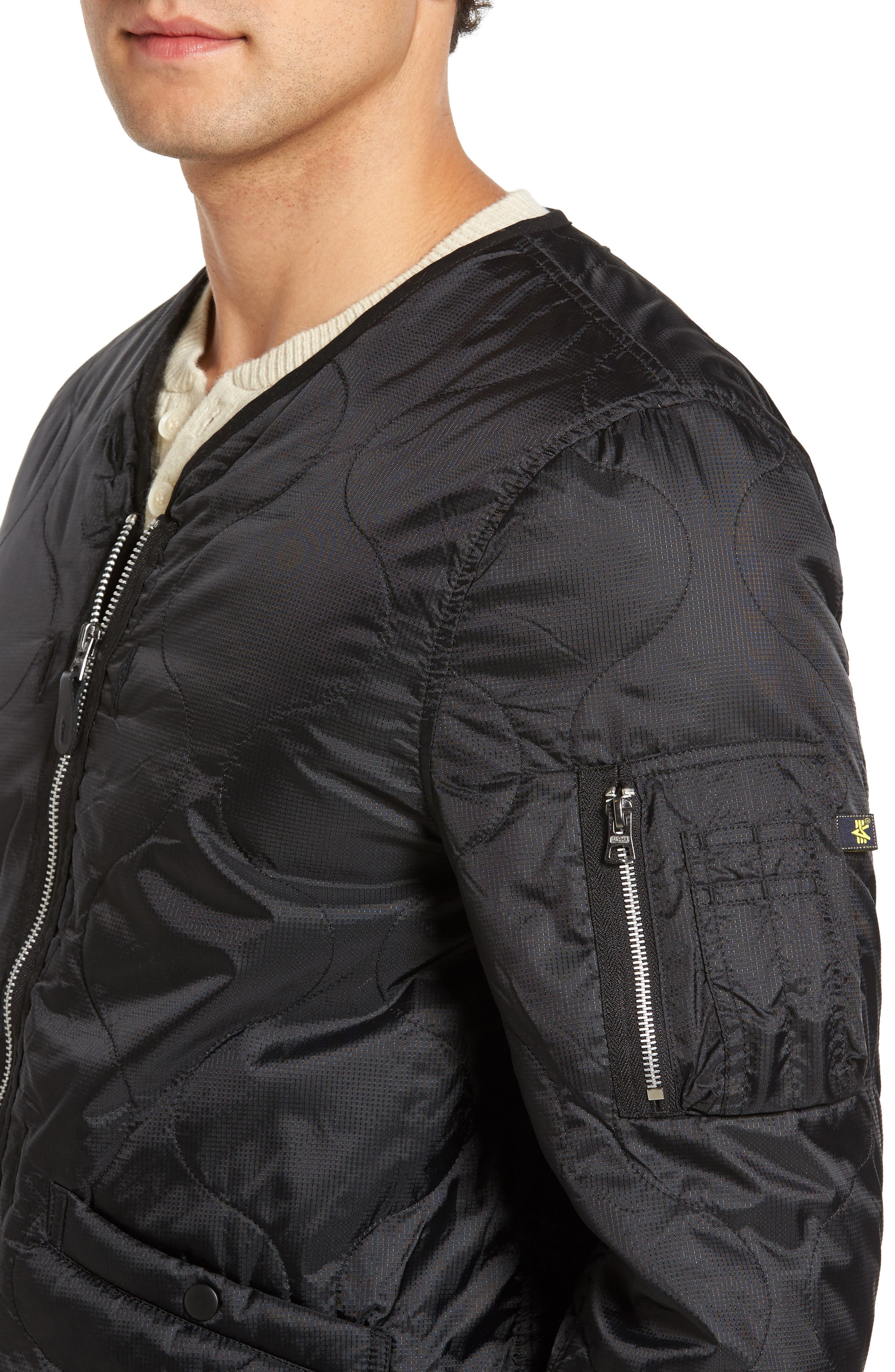 Pioneer Quilted Bomber Jacket,                             Alternate thumbnail 4, color,                             001