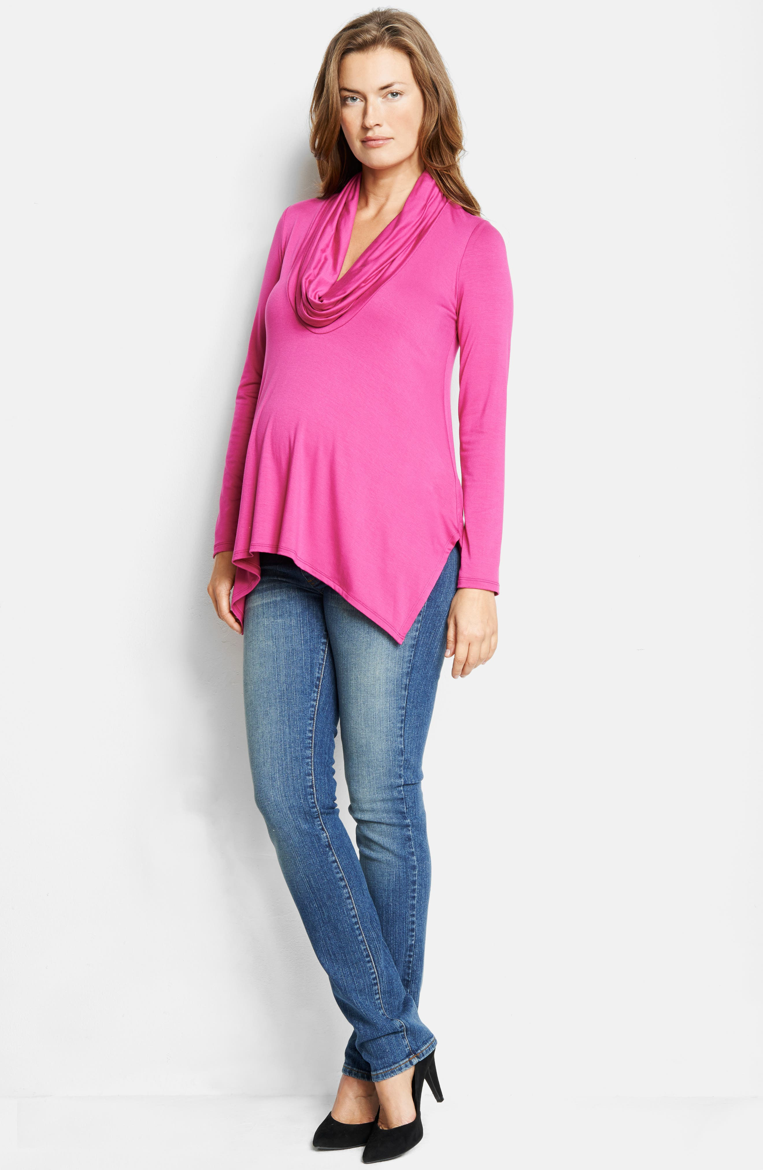 MATERNAL AMERICA,                             Cowl Neck Maternity/Nursing Top,                             Alternate thumbnail 2, color,                             HOT PINK