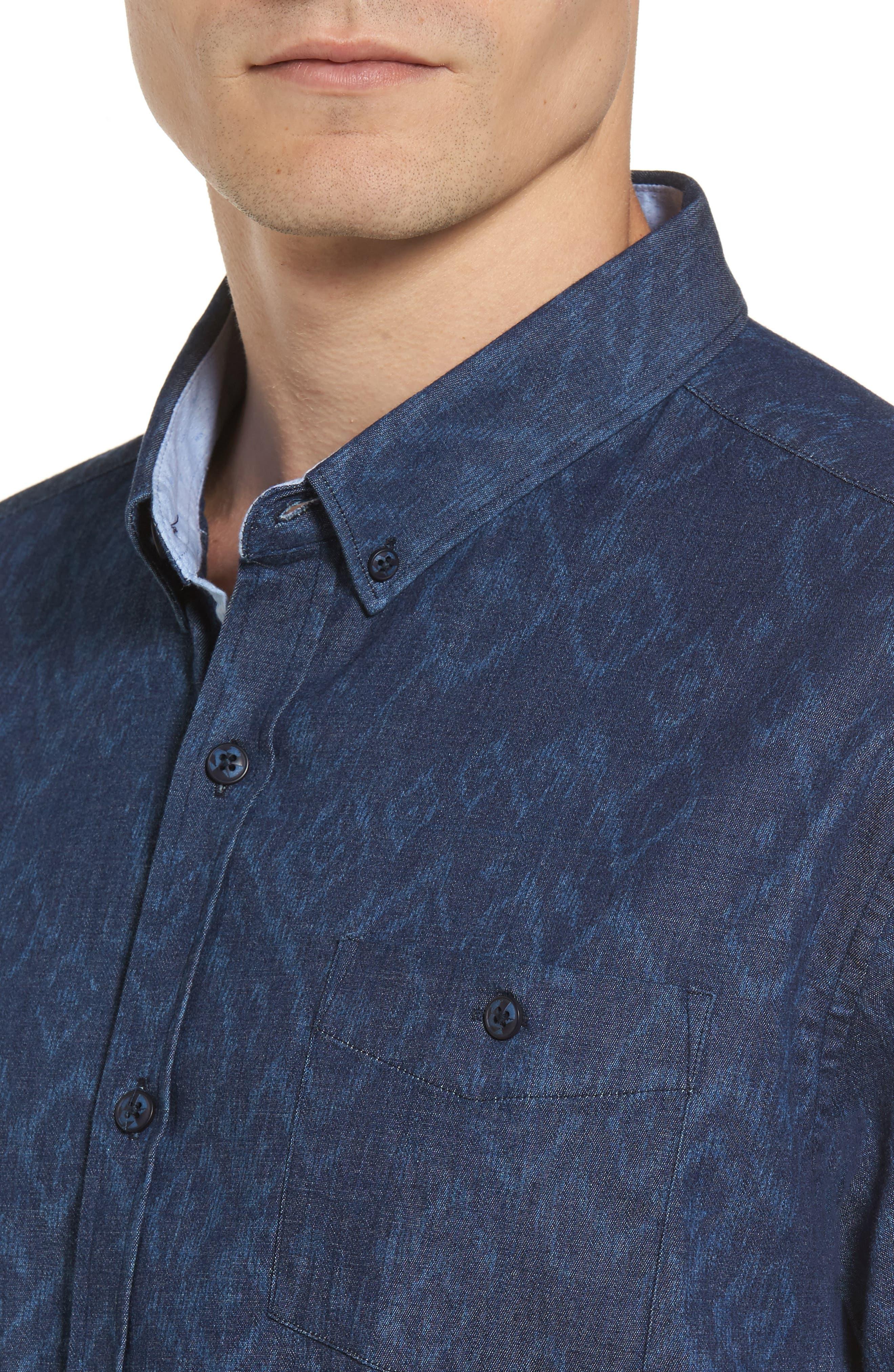 Marquee Moon Print Woven Shirt,                             Alternate thumbnail 4, color,                             410