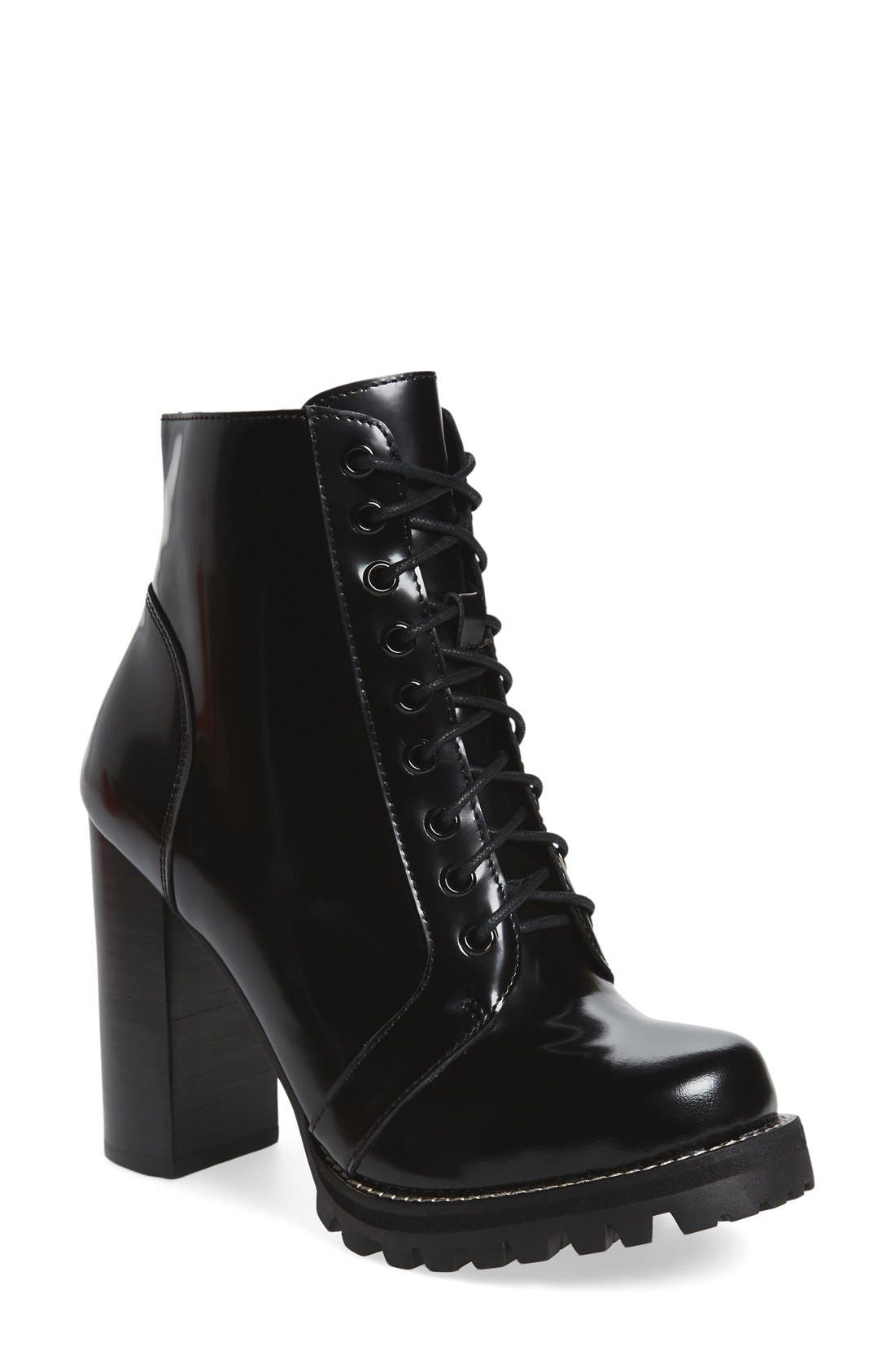 'Legion' high heel boot, main, color, black box leather