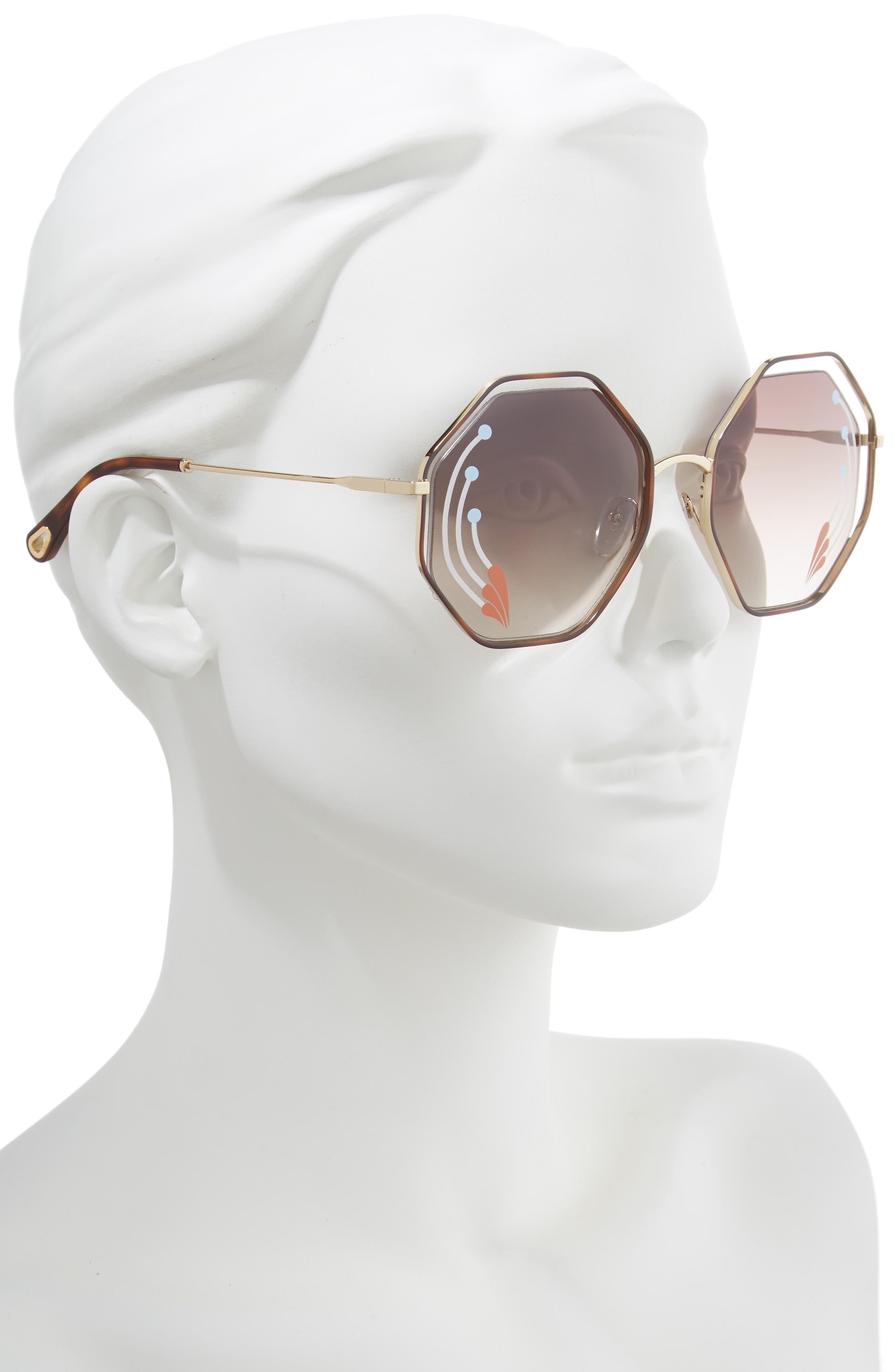 Poppy 58mm Octagonal Halo Lens Sunglasses,                             Alternate thumbnail 2, color,                             HAVANA/ GOLD BROWN W PRINT