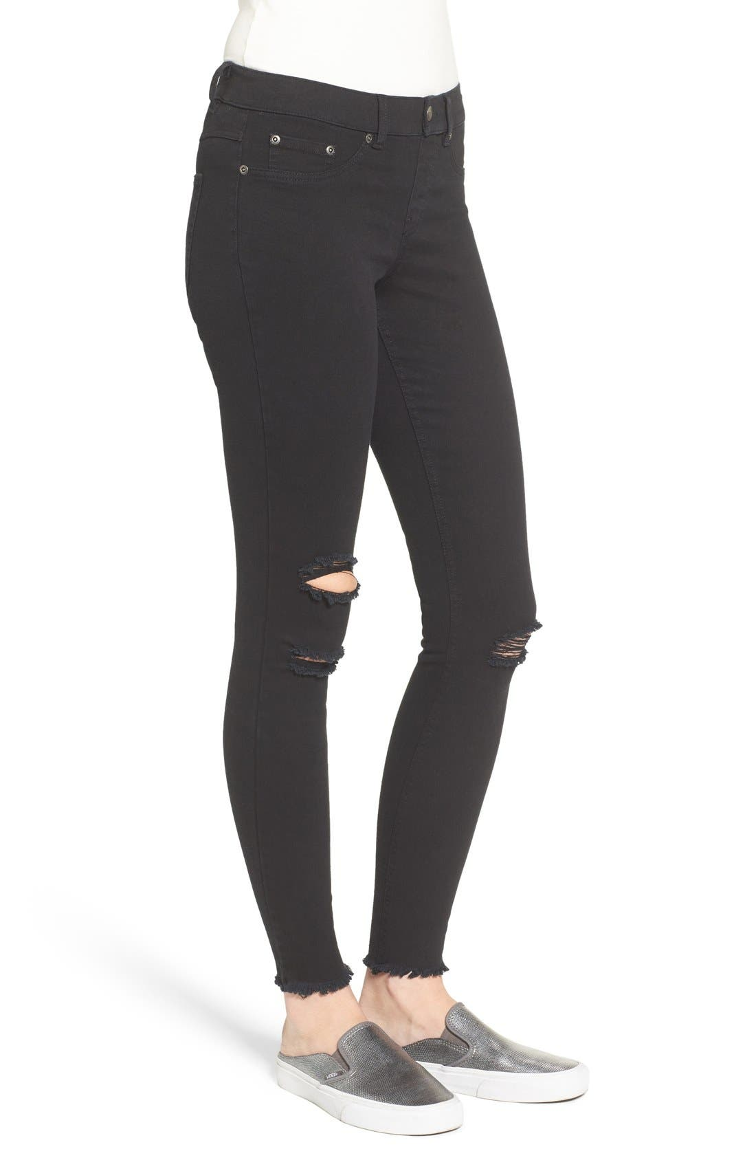 Ripped Denim Leggings,                             Alternate thumbnail 3, color,                             001