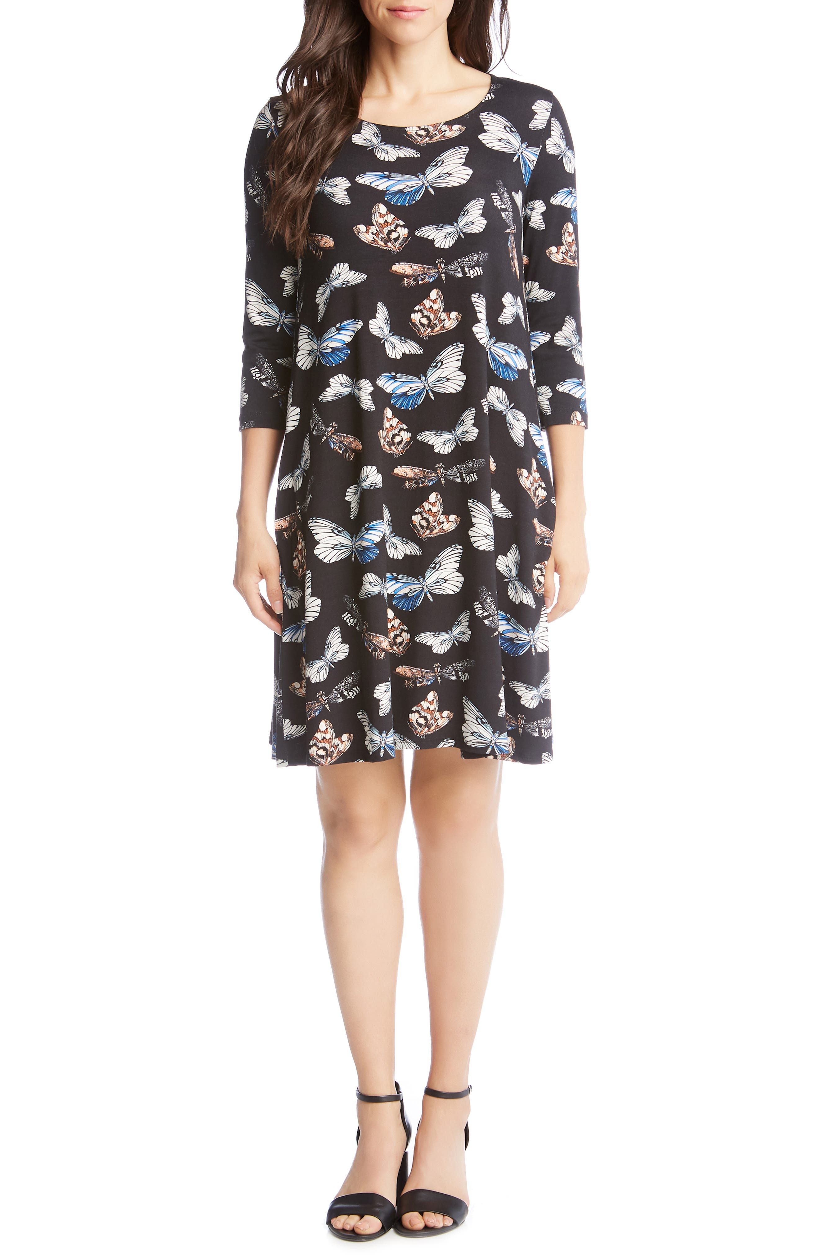 Karen Kane Chloe Print Swing Dress, Blue