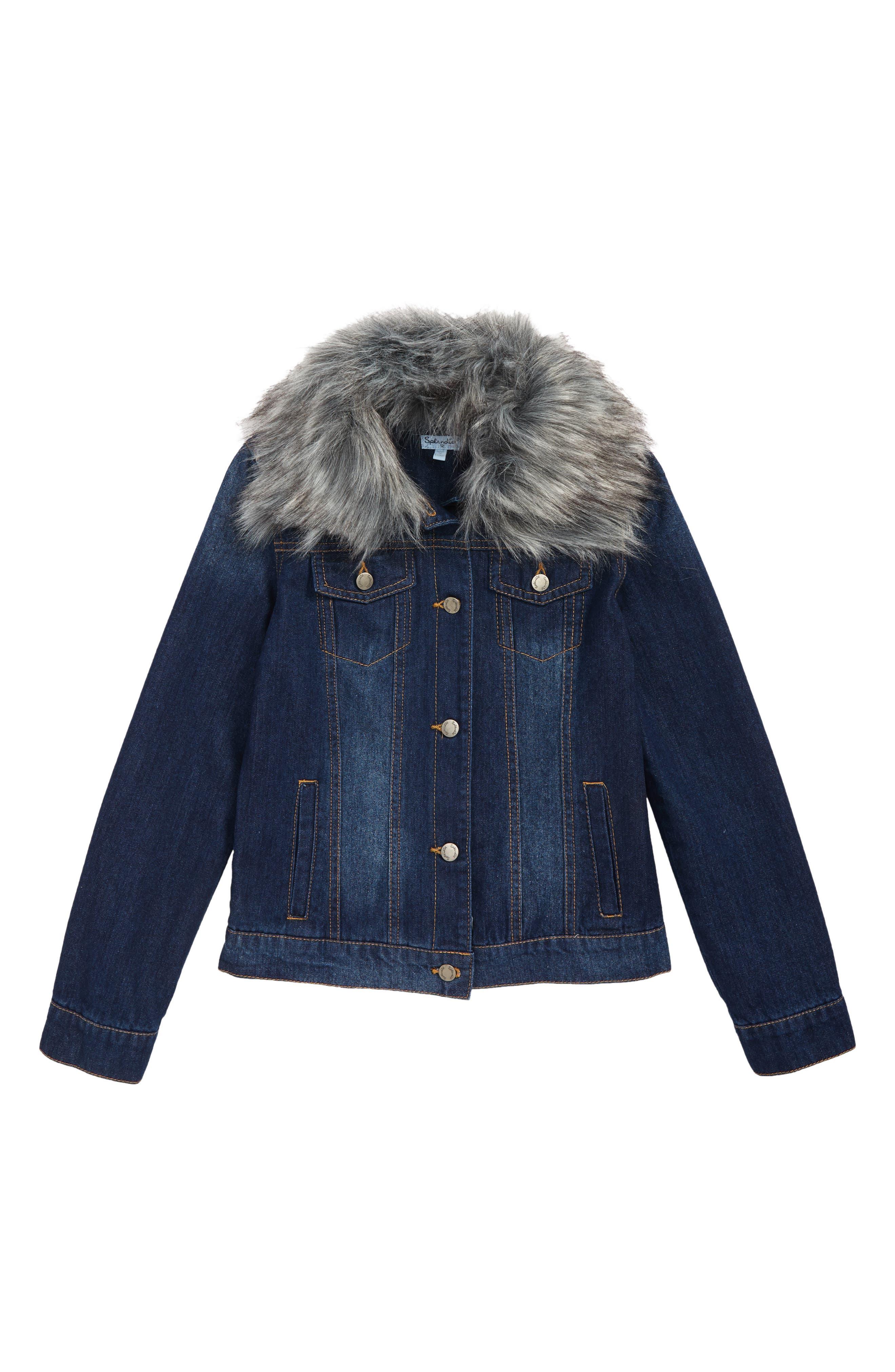 Faux Fur Collar Denim Jacket,                         Main,                         color, MEDIUM STONE