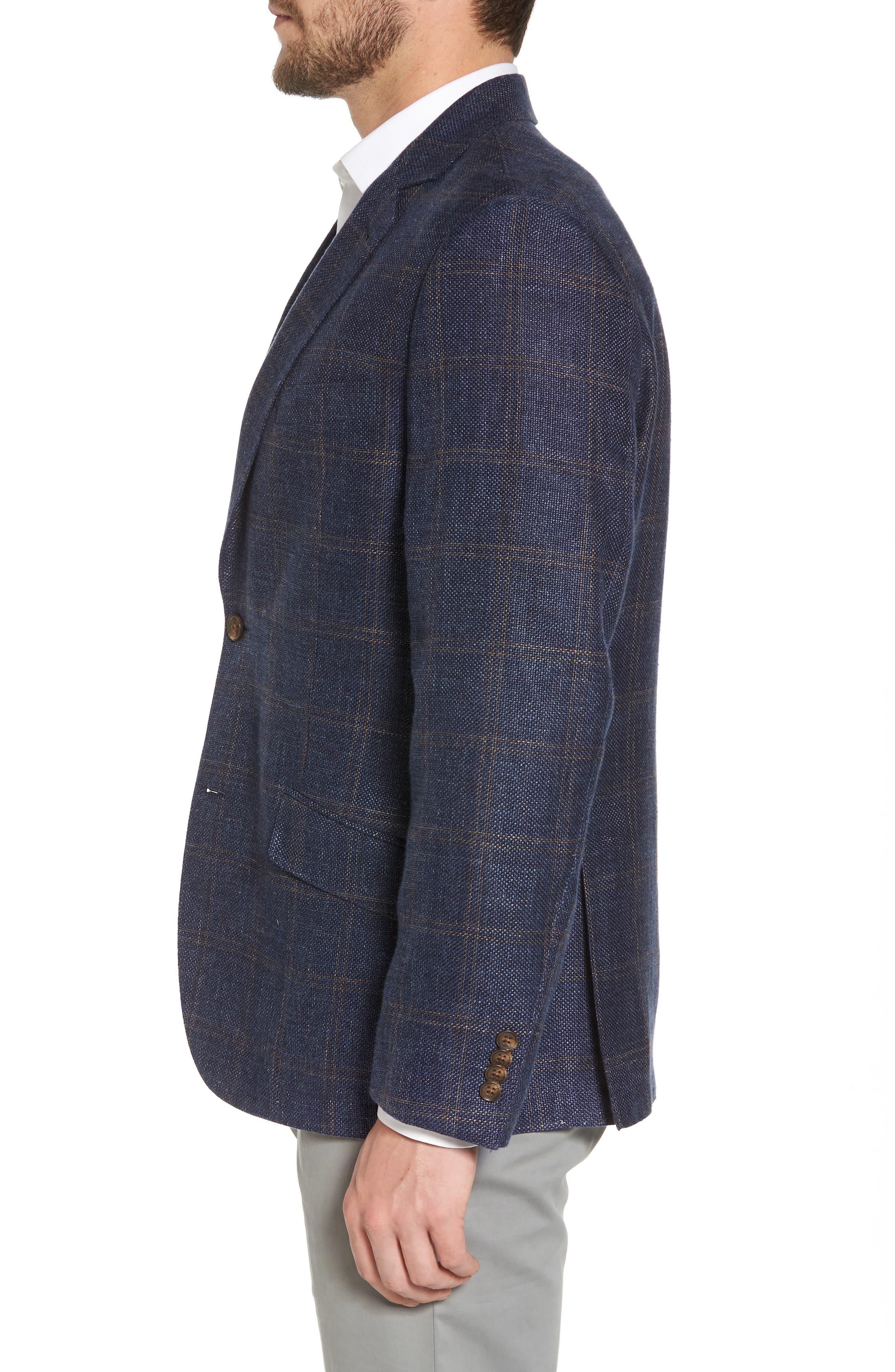 Classic Fit Windowpane Linen Blend Sport Coat,                             Alternate thumbnail 3, color,