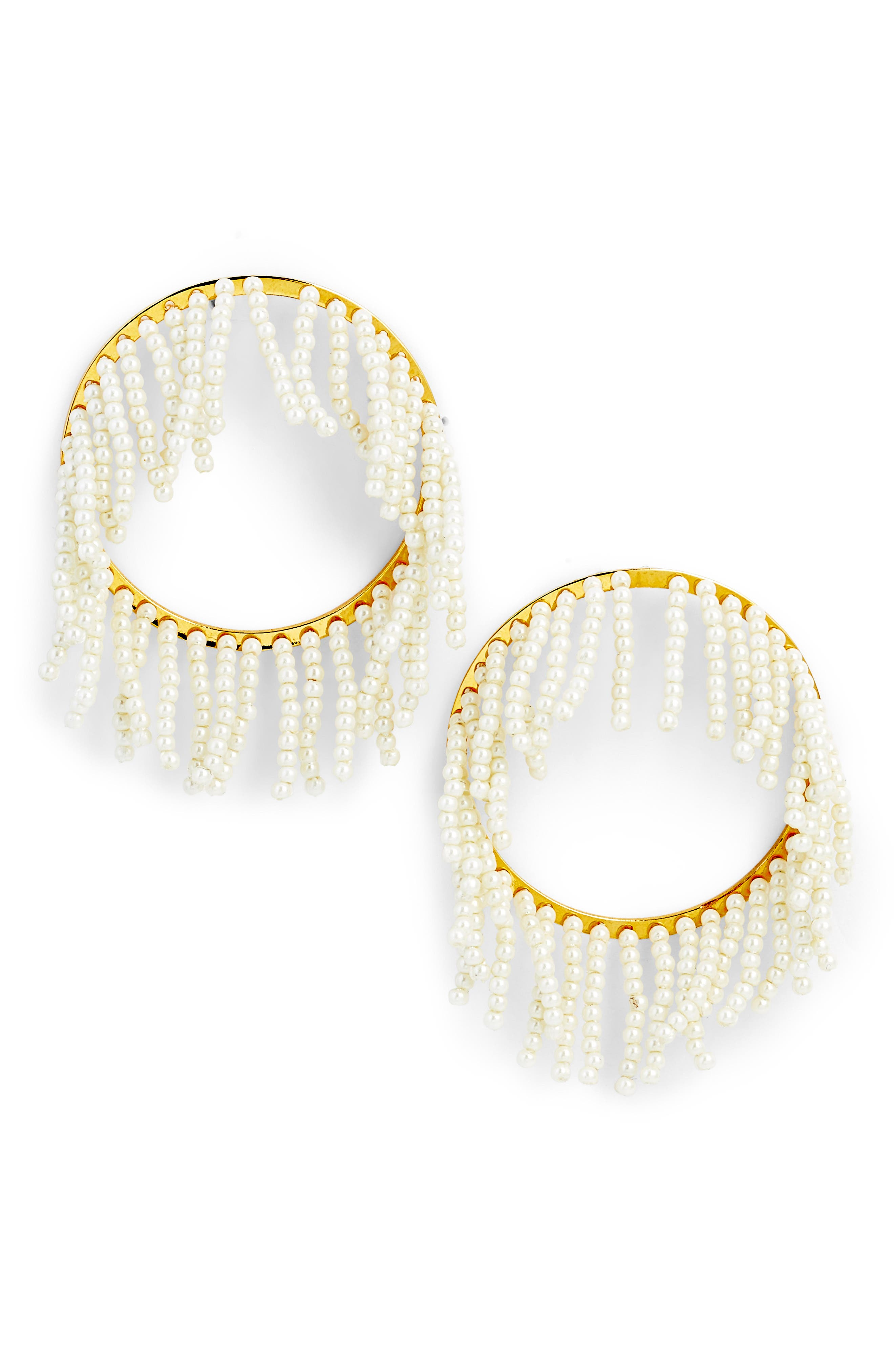Imitation Pearl Hoop Earrings,                         Main,                         color, 100