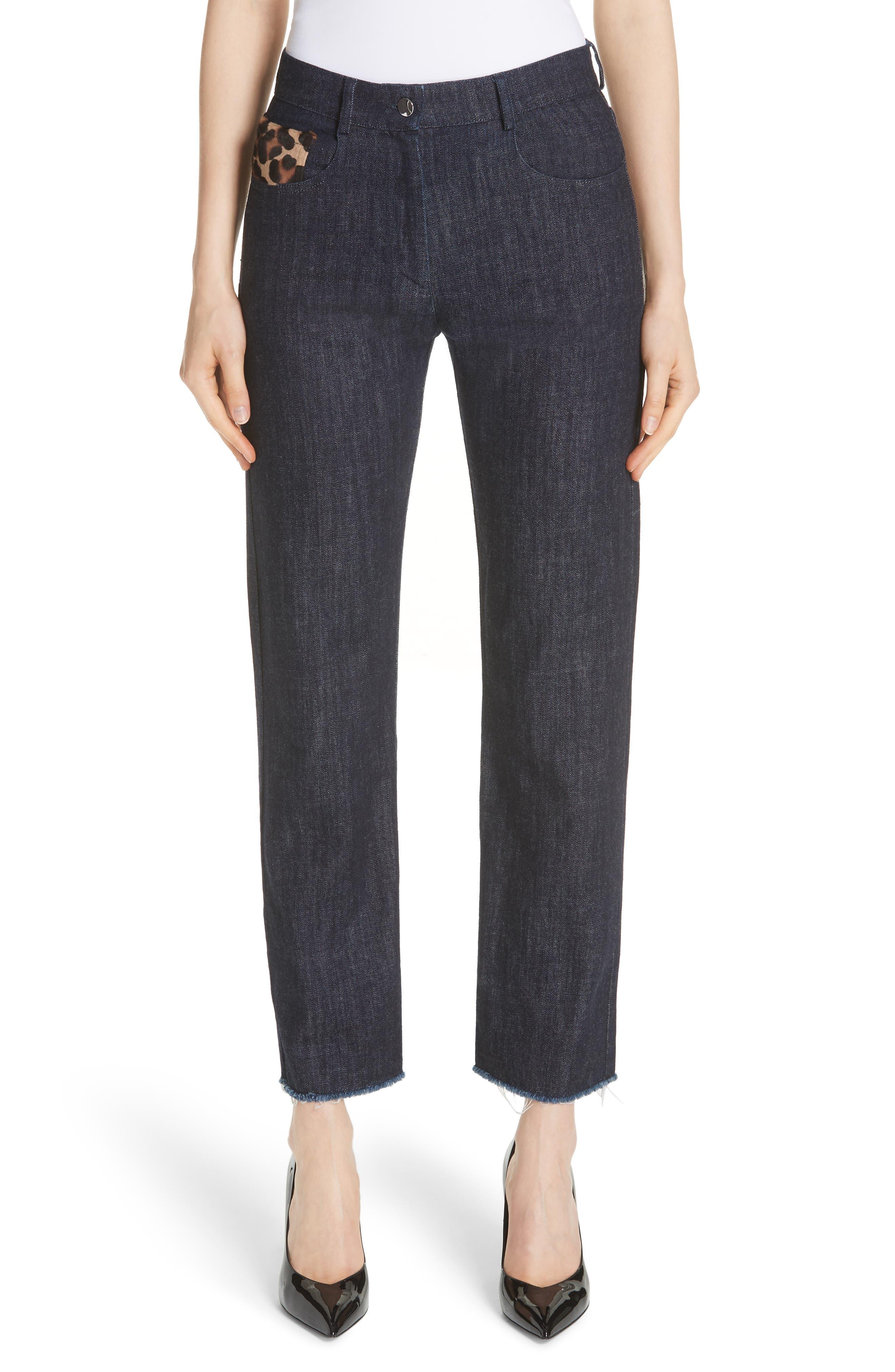 Genuine Calf Hair Pocket Straight Leg Jeans,                             Main thumbnail 1, color,                             INDIGO