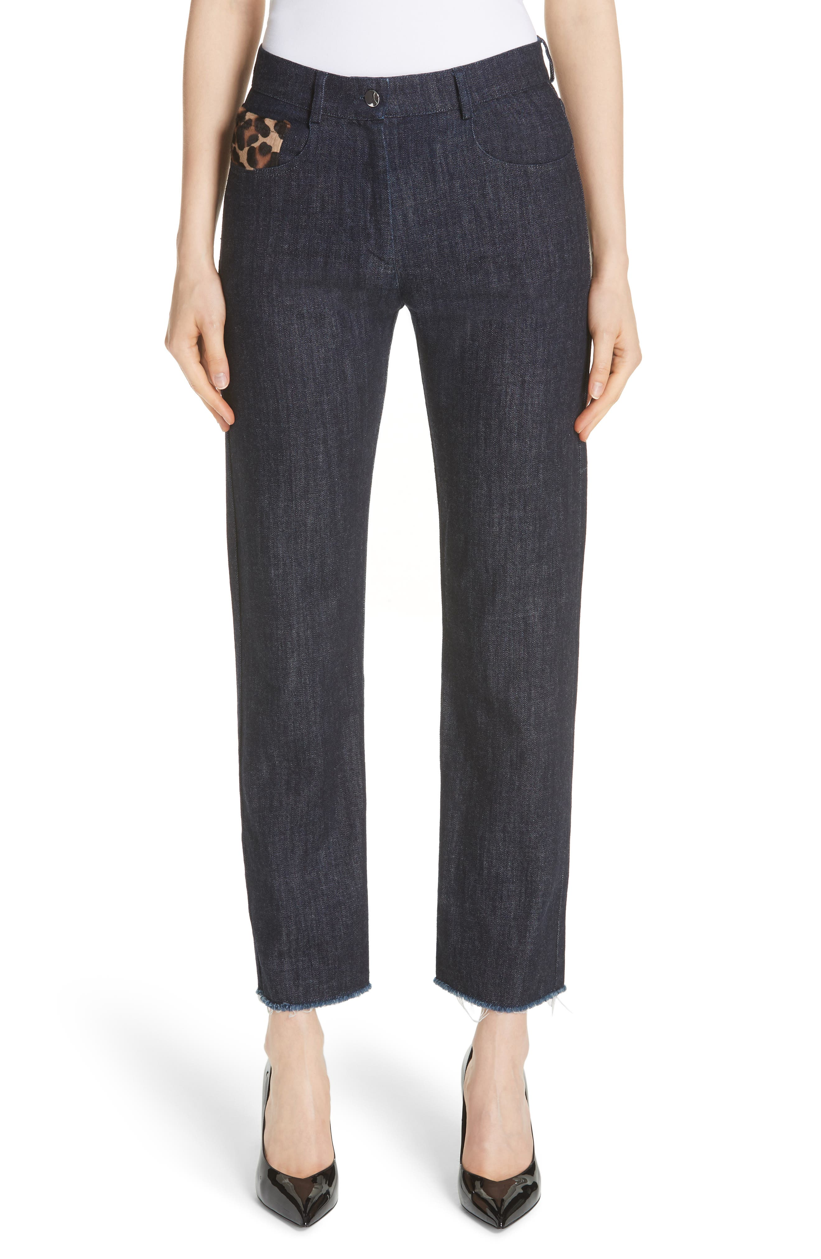 Genuine Calf Hair Pocket Straight Leg Jeans,                         Main,                         color, INDIGO