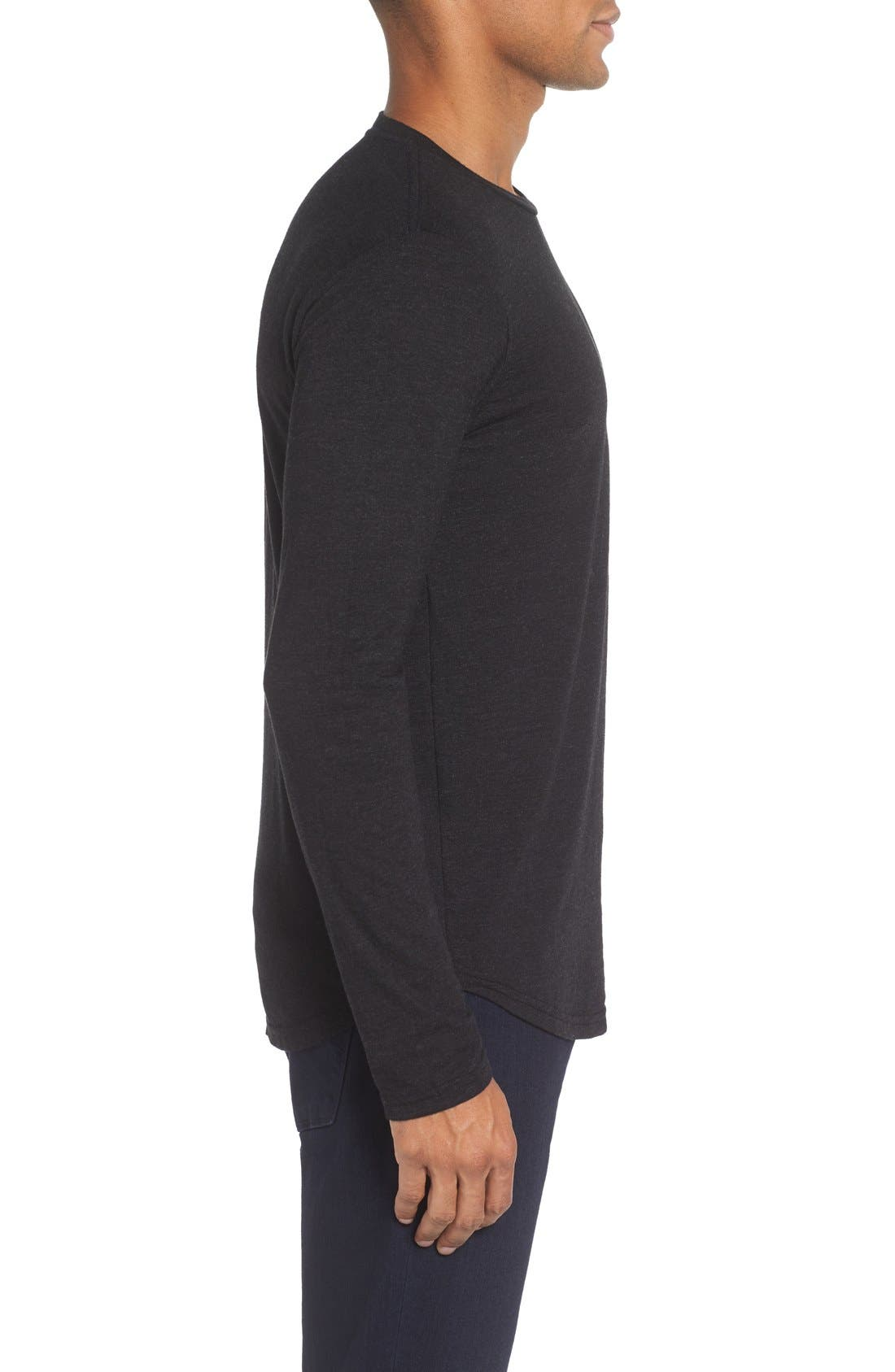 Triblend Scallop Long Sleeve Crewneck T-Shirt,                             Alternate thumbnail 5, color,                             BLACK