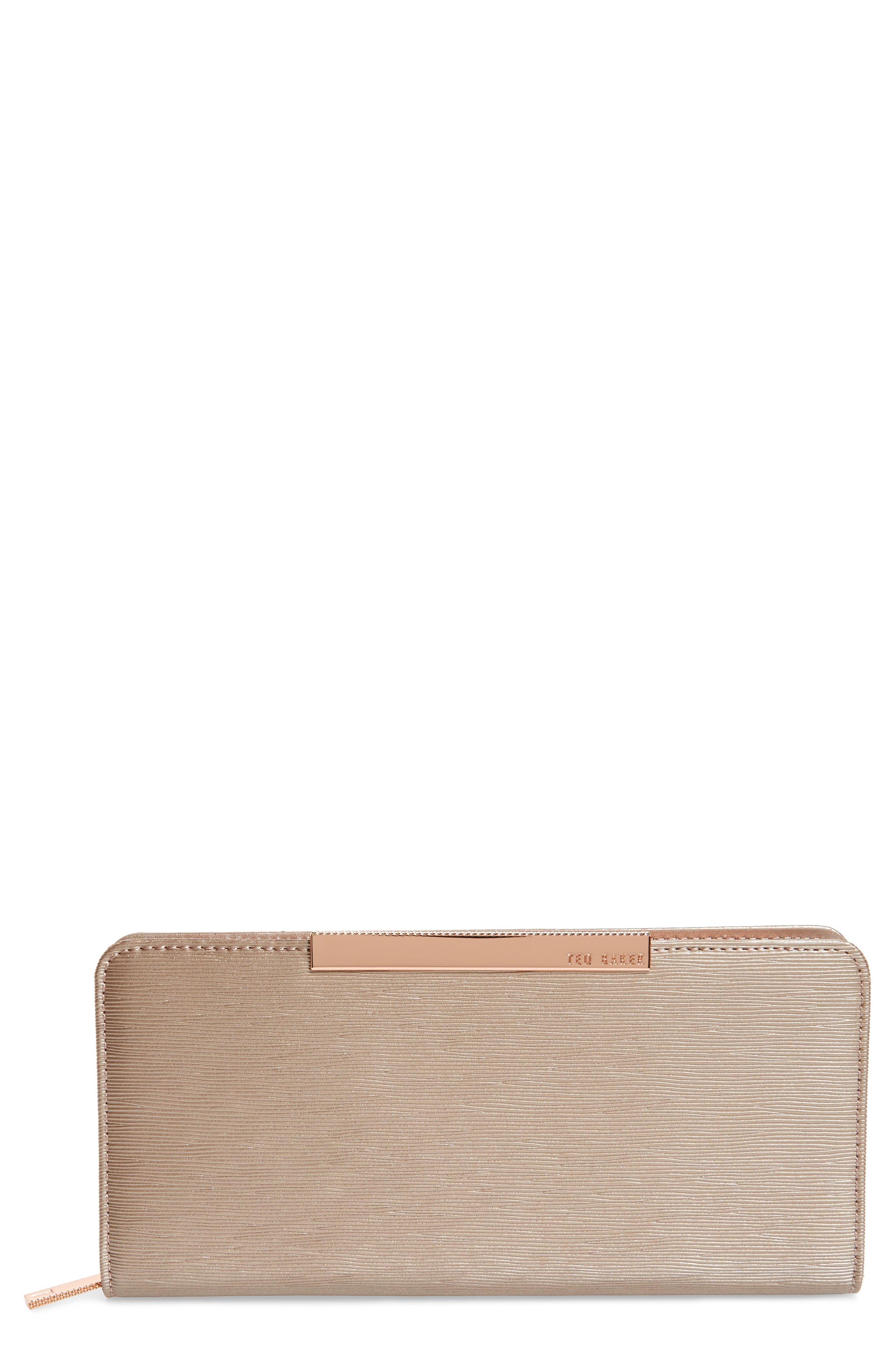 Marya Plissé Leather Matinee Wallet,                         Main,                         color, 212