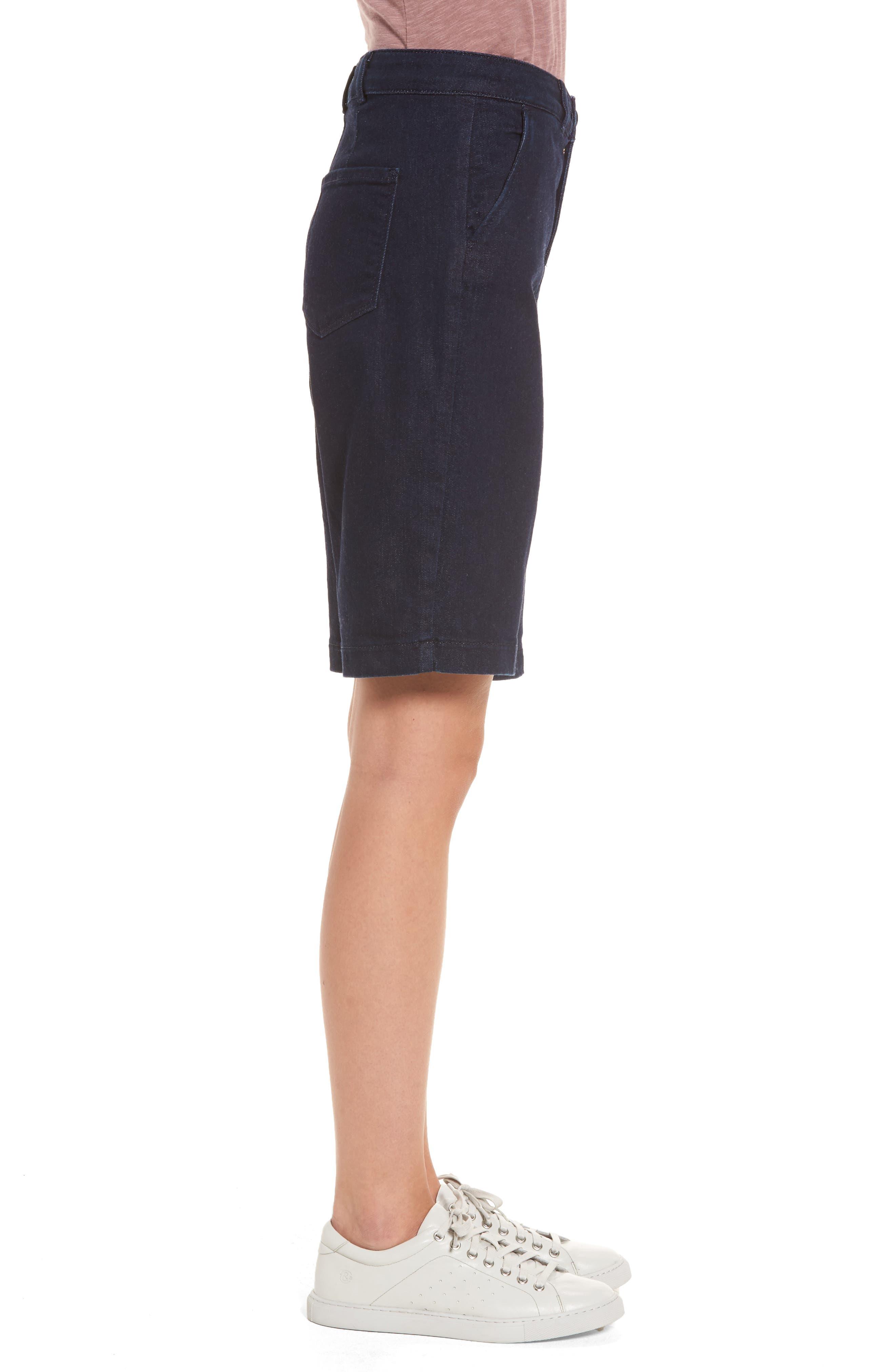 Marilyn Stretch Denim Bermuda Shorts,                             Alternate thumbnail 3, color,                             RINSE