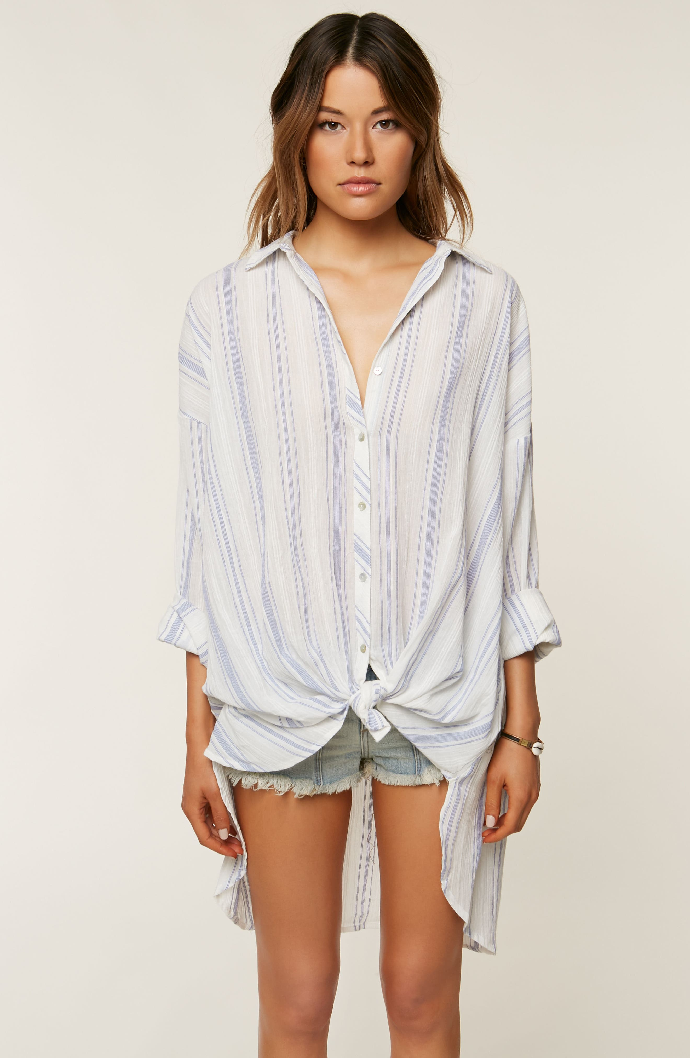 Alani Stripe Woven Shirt,                             Alternate thumbnail 8, color,