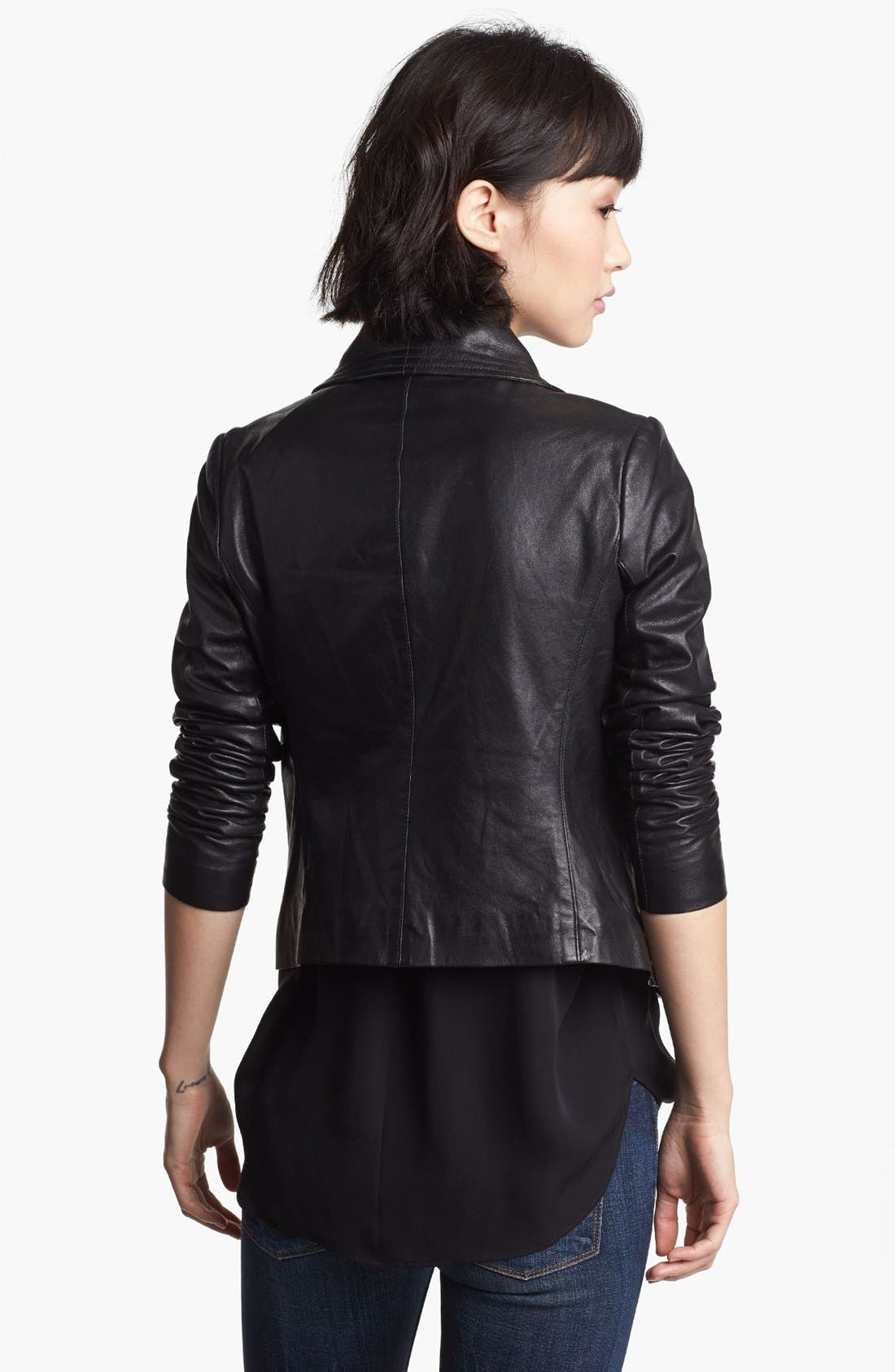 Crop Leather Moto Jacket,                             Alternate thumbnail 2, color,                             001