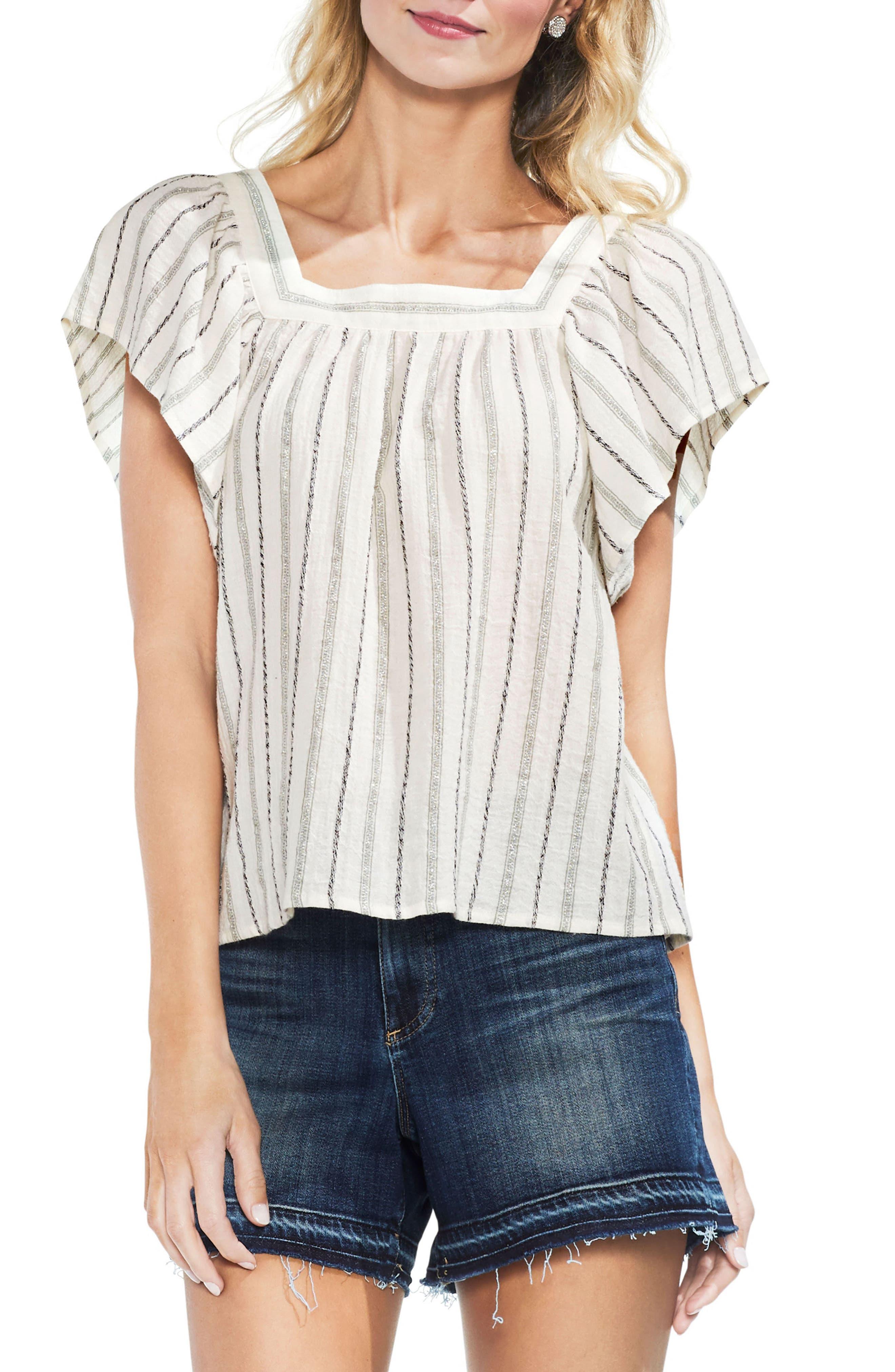 Metallic Stripe Ruffle Sleeve Top,                         Main,                         color, 300