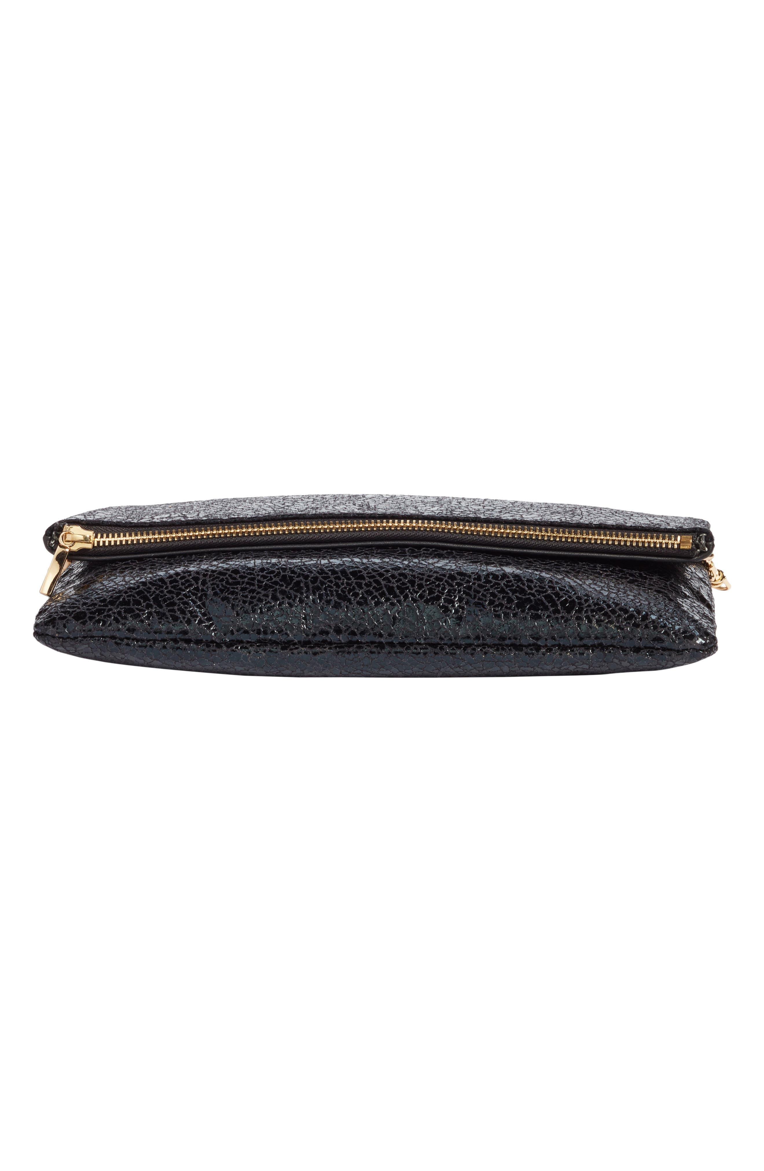 Black Crackle Faux Leather Foldover Clutch,                             Alternate thumbnail 6, color,                             001