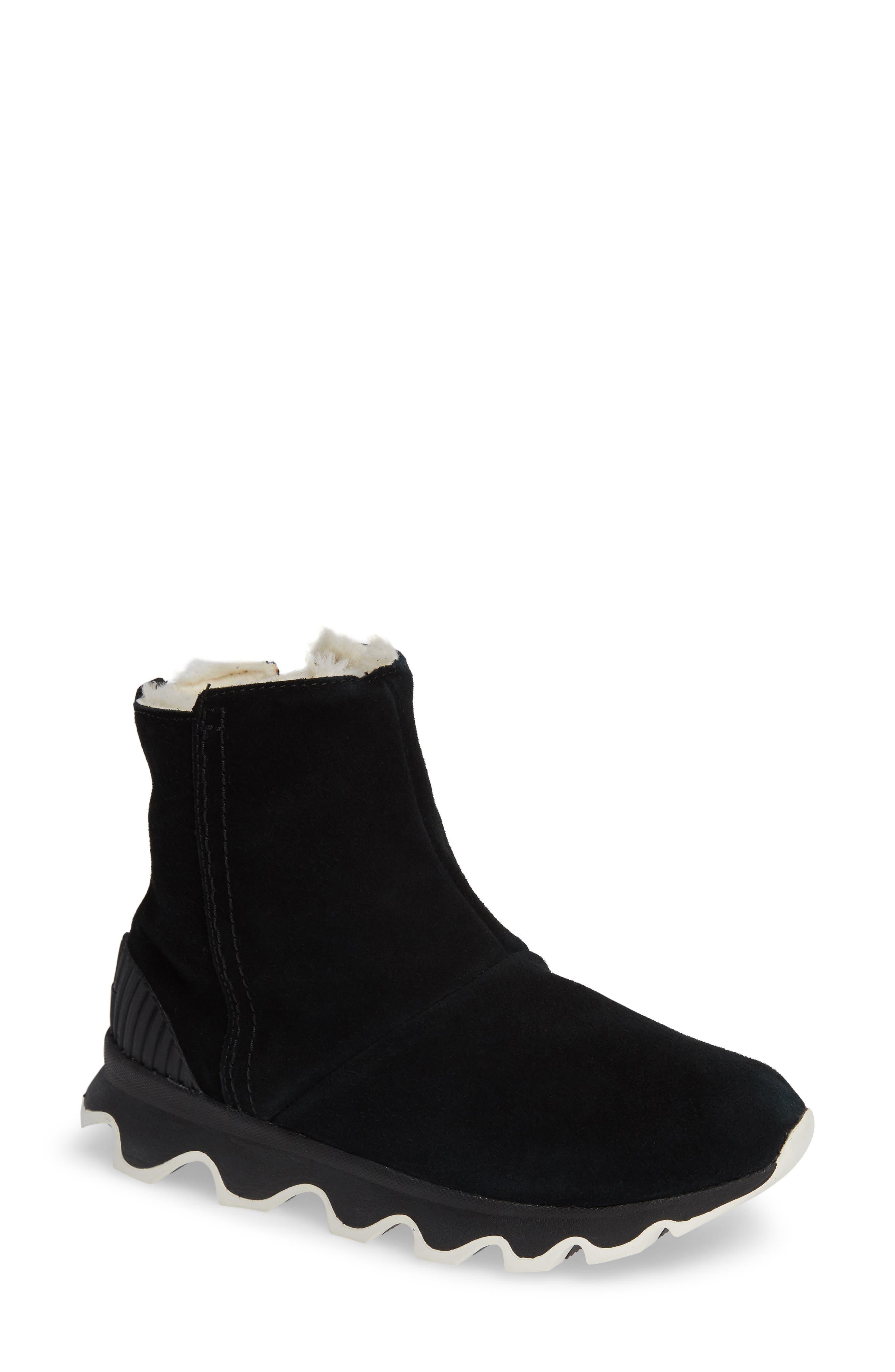 Kinetic Insulated Waterproof Short Boots,                             Main thumbnail 1, color,                             BLACK/ SEA SALT