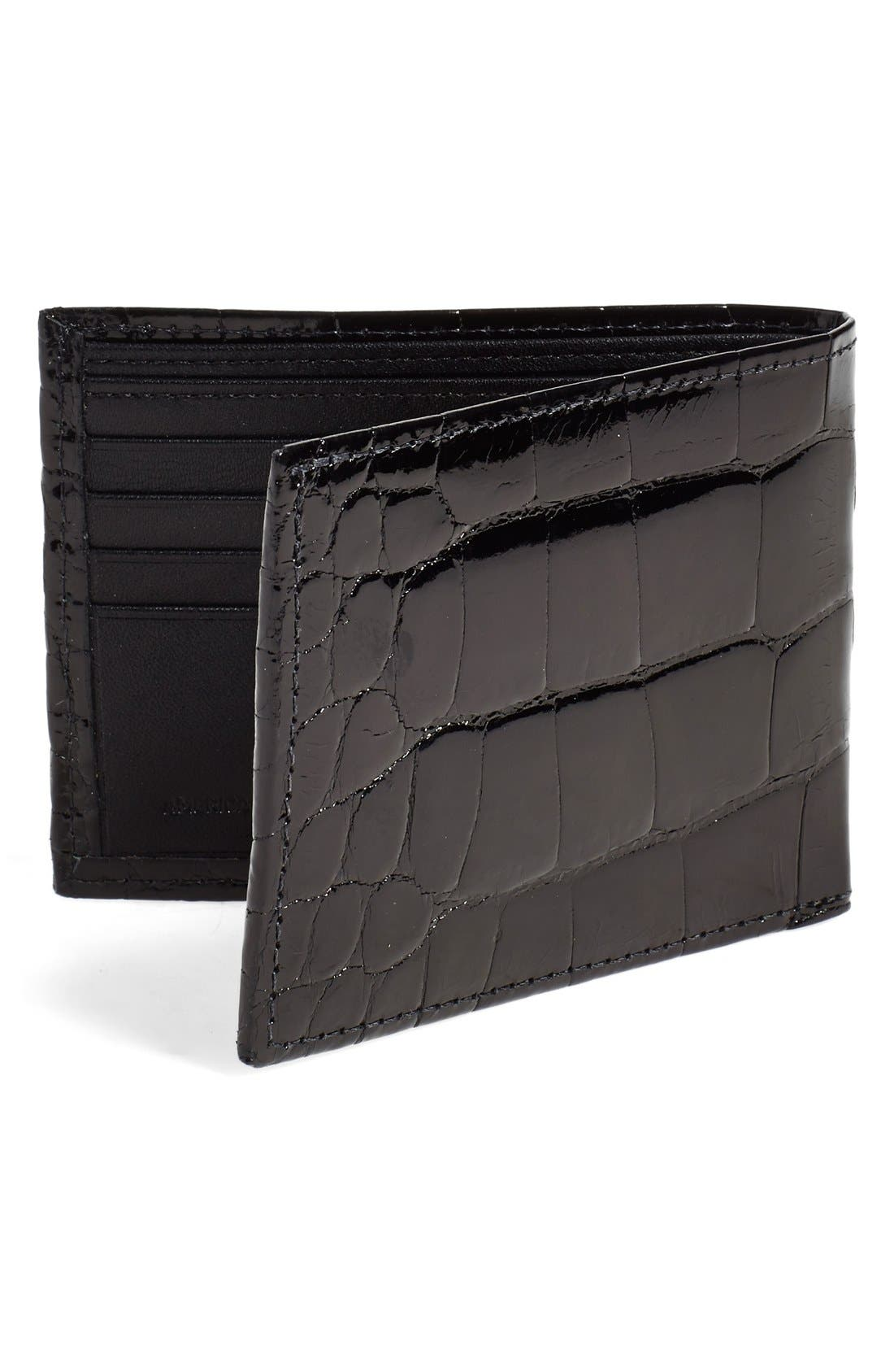 Genuine Alligator Wallet,                             Alternate thumbnail 4, color,                             BLACK