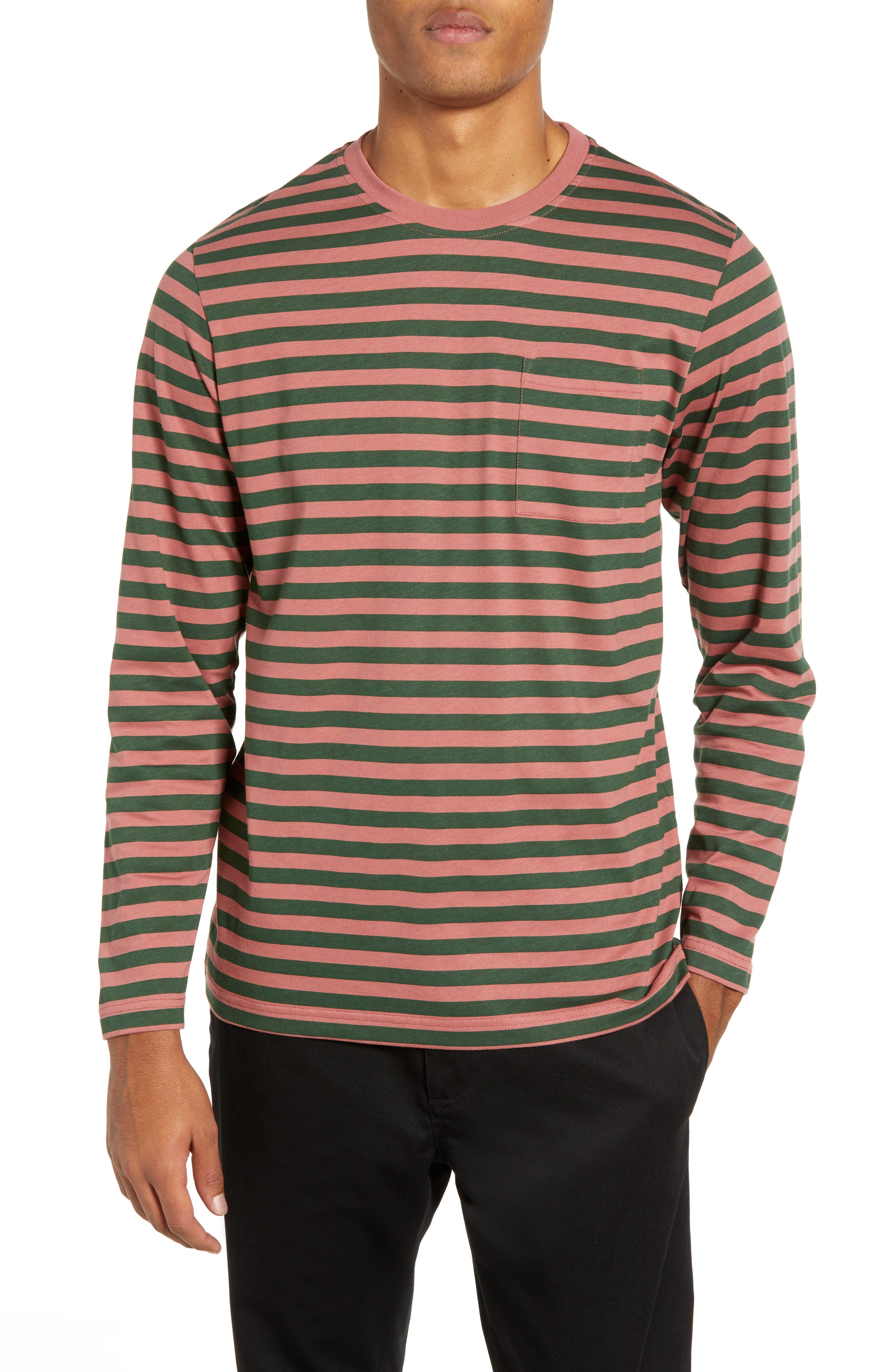 Wesc Makai Stripe Long Sleeve Pocket T-Shirt, Pink