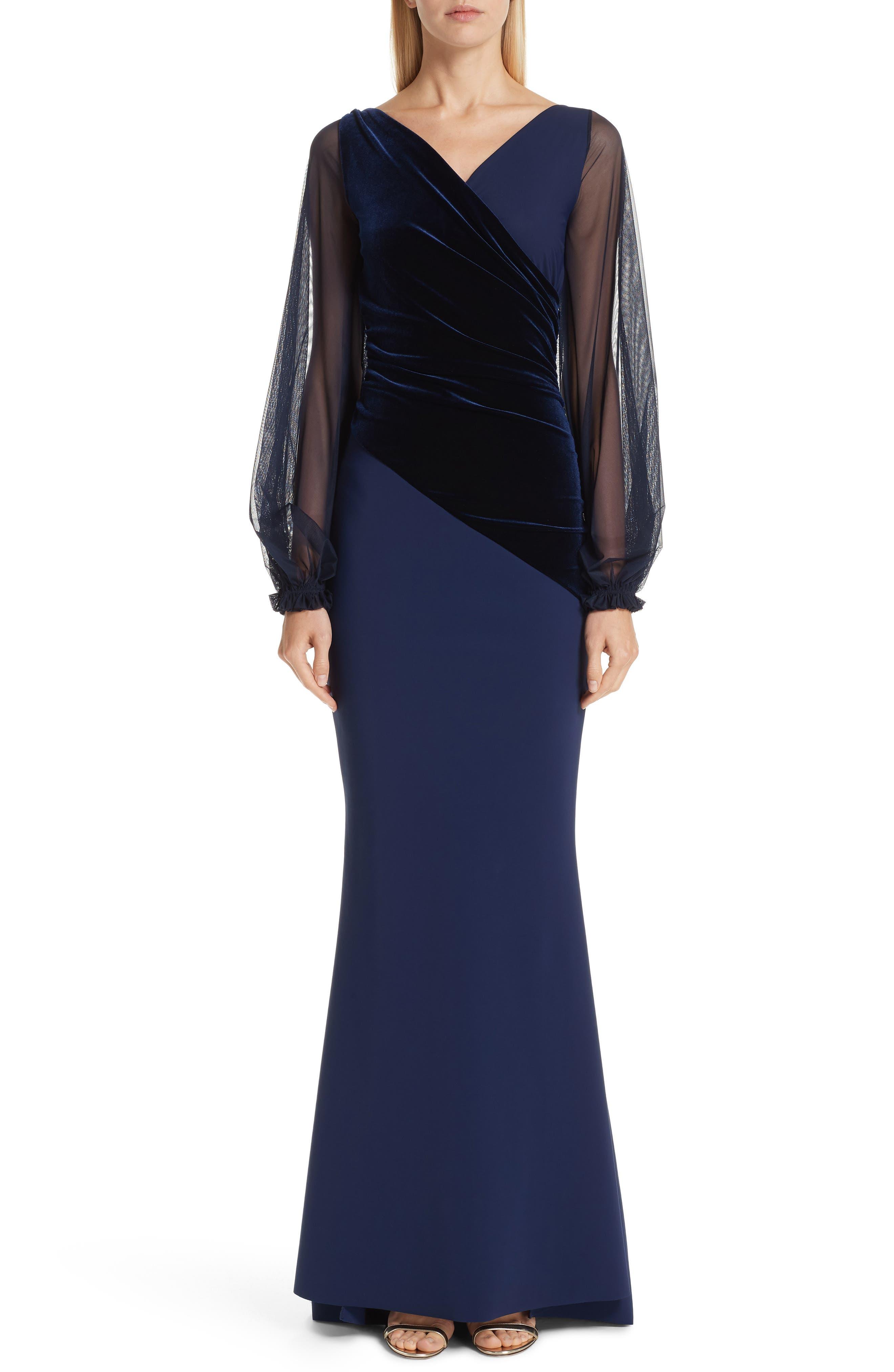 Erenira Mixed Media Gown,                             Main thumbnail 1, color,                             BLUE NOTTE