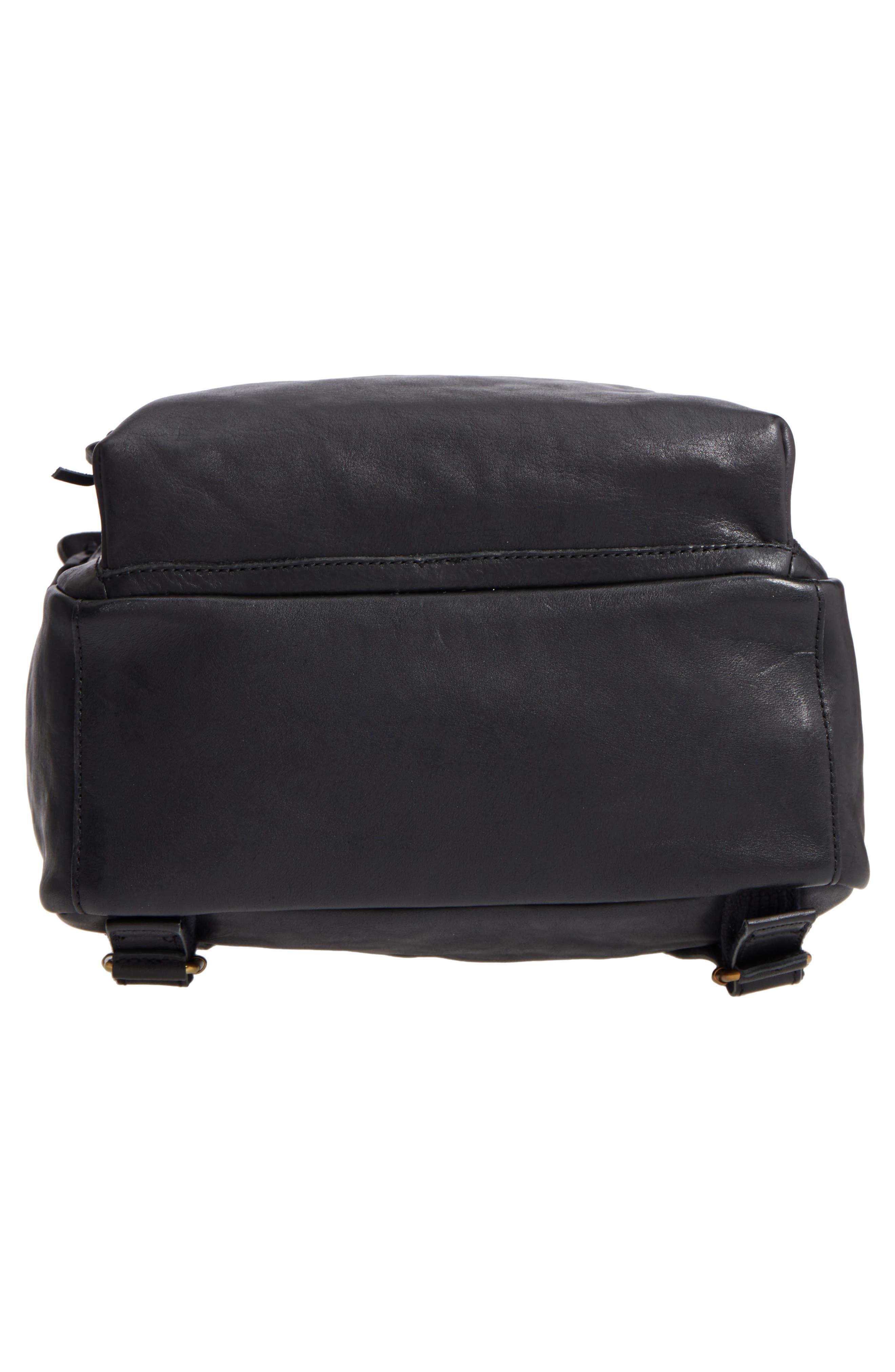 Lorimer Leather Backpack,                             Alternate thumbnail 6, color,                             TRUE BLACK