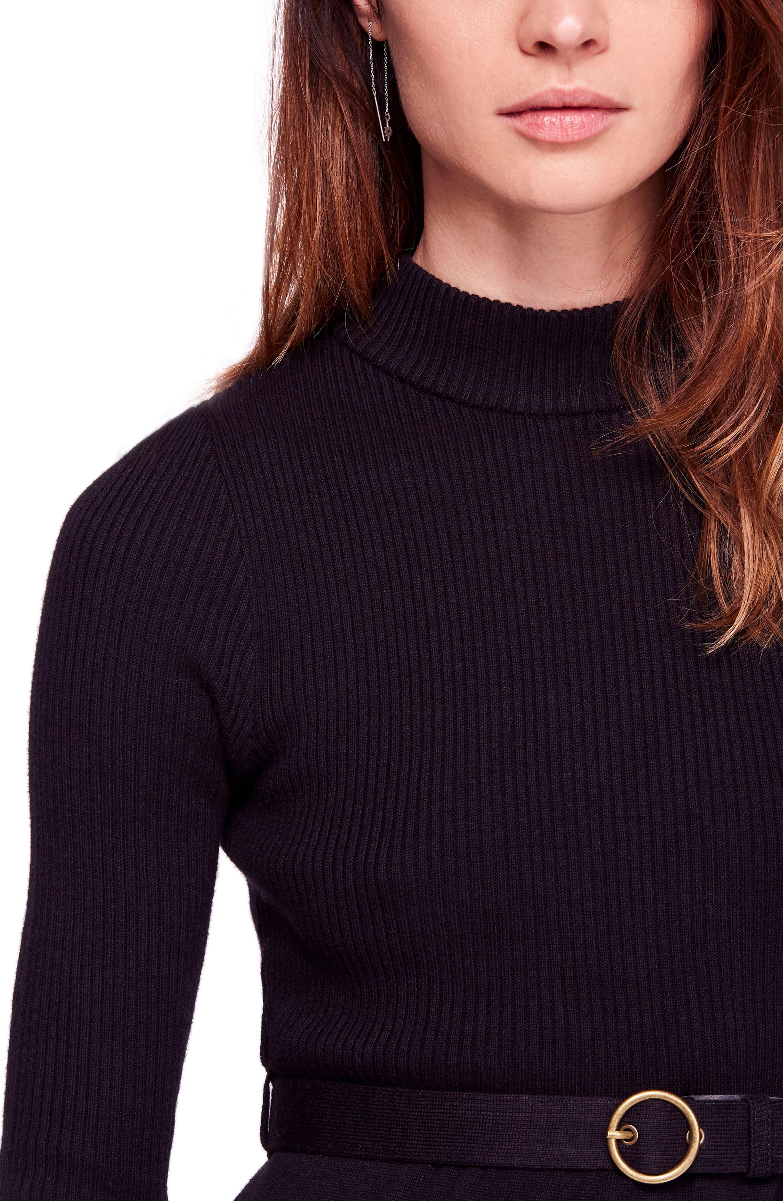 French Girl Sweater Minidress,                             Alternate thumbnail 4, color,                             001