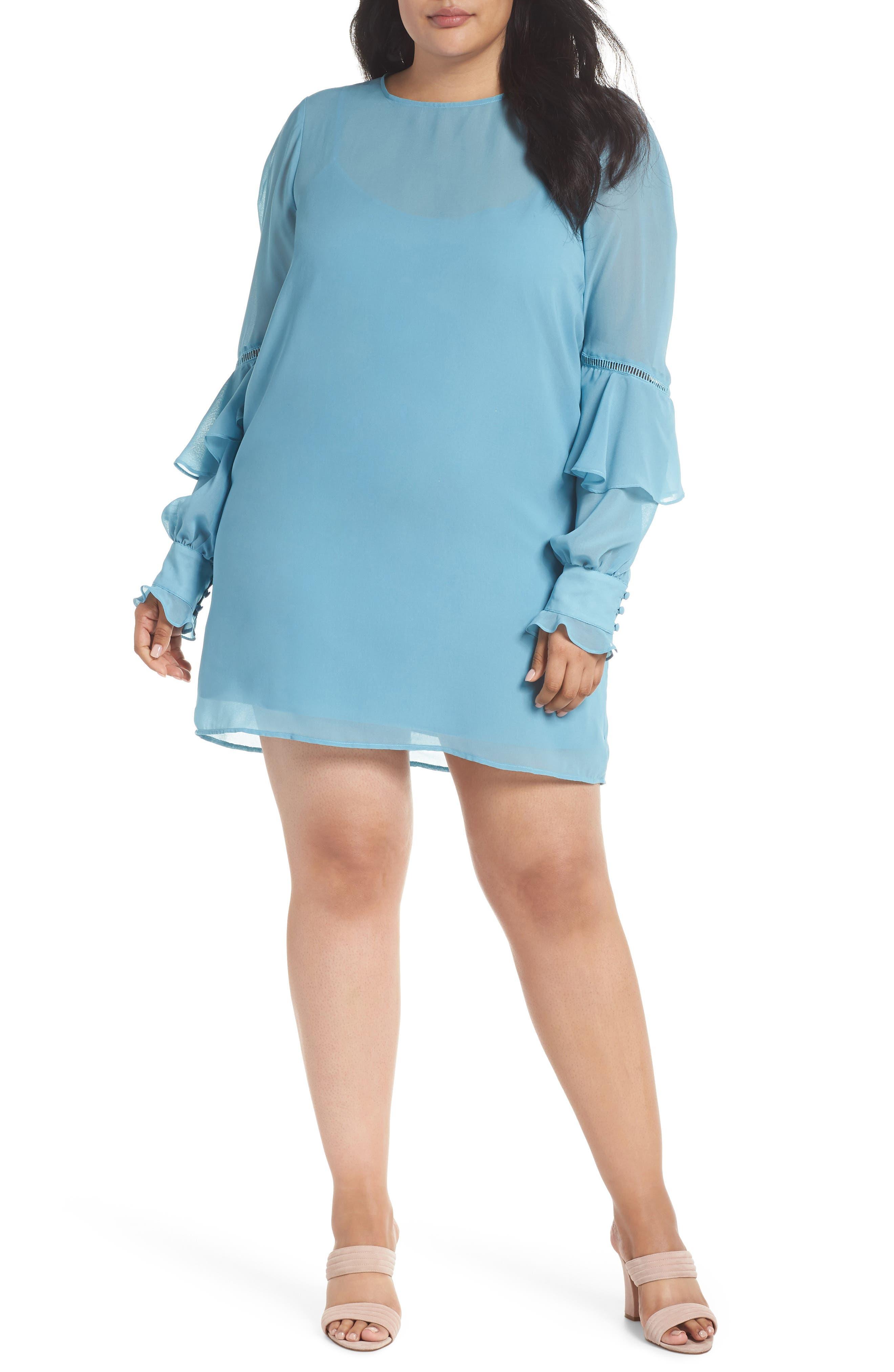 Galaxy Waters Ruffle Sleeve Shift Dress,                         Main,                         color, 422